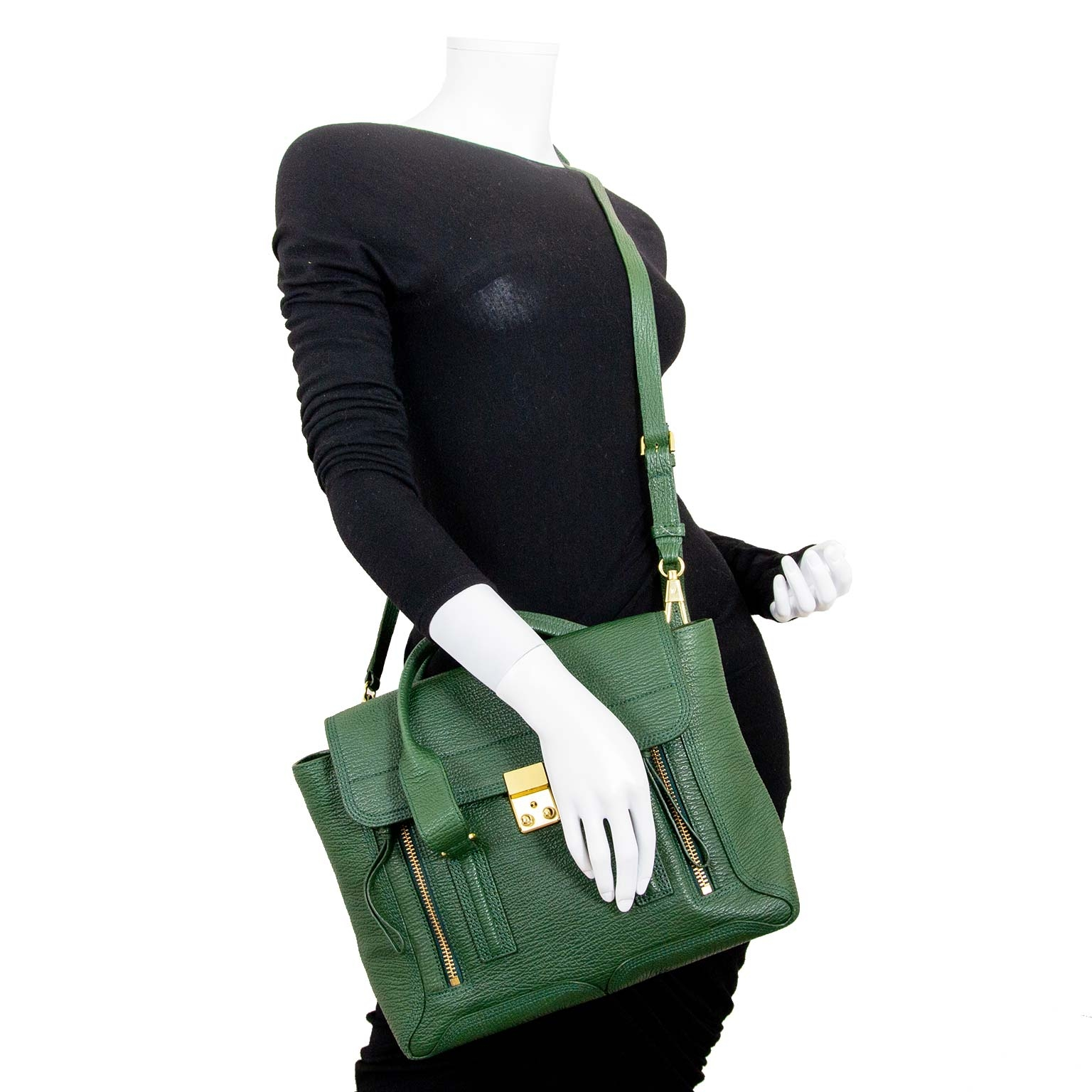 3.1. phillip lim medium green pashli bag now for sale at labellov vintage fashion webshop belgium