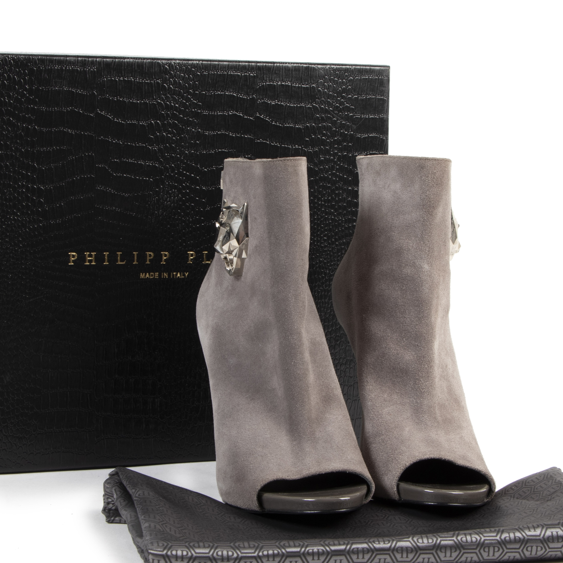 Philipp Plein Yesterday Grey Suede and Patent Leather Open Toe Bootie
