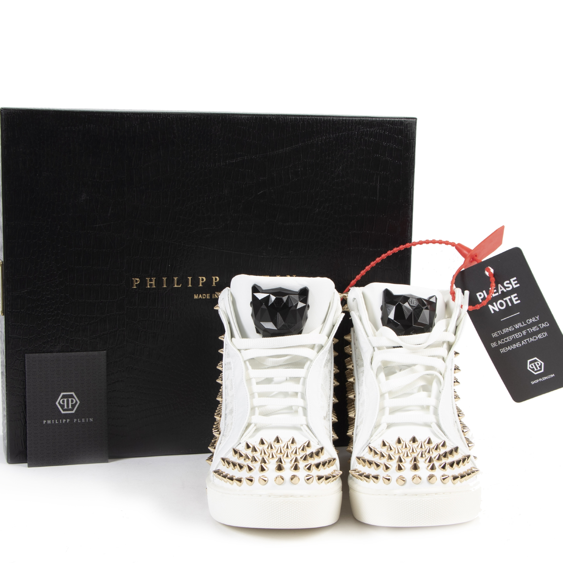Authentic secondhand Philipp Plein White Studded Sneakers - Size 39 designer shoes accessories sneakers luxury vintage webshop fashion safe secure online shopping