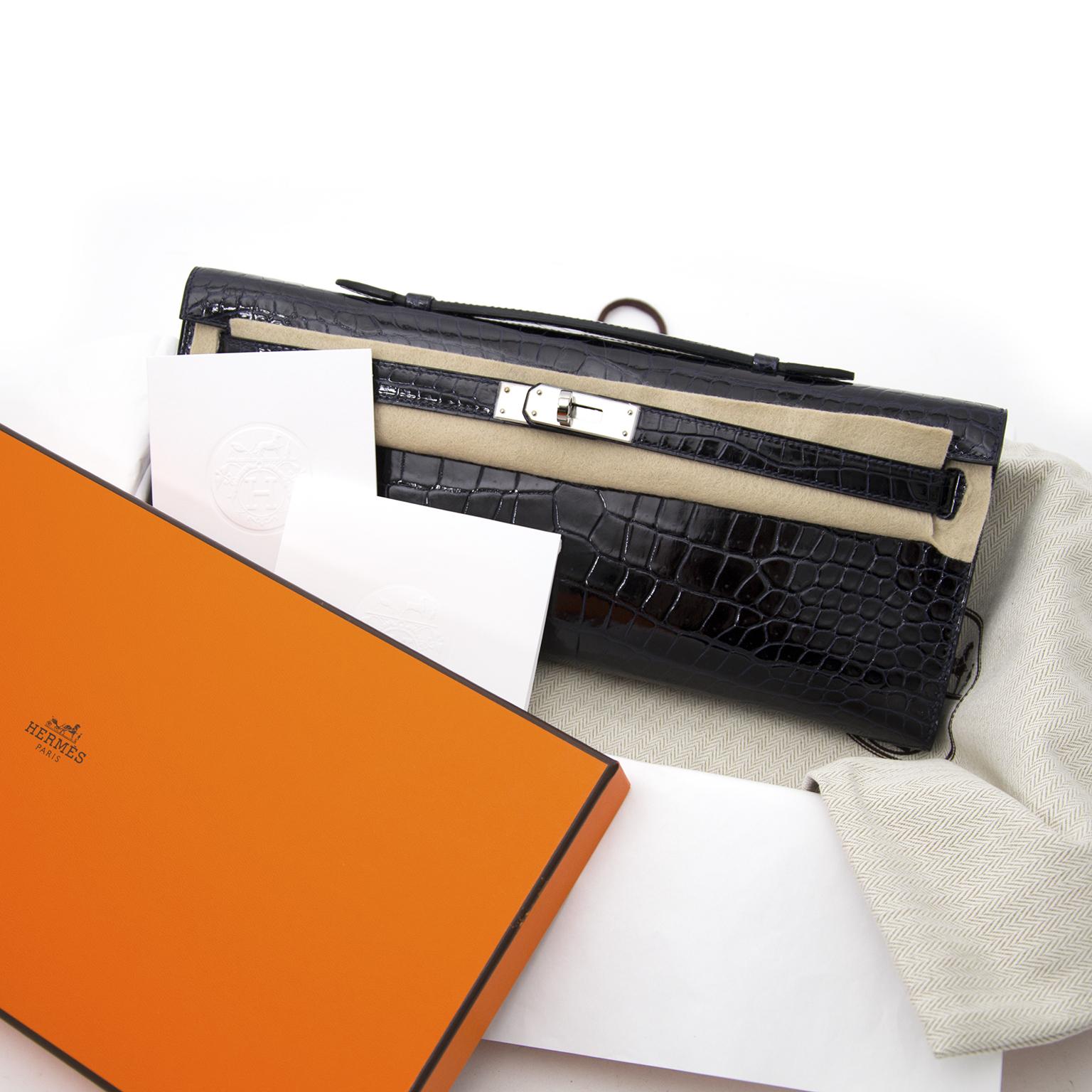 koop veilig online aan de beste prijs jou tweedehands Brand New Hermes Kelly Cut Blue Marine Croco Porosus