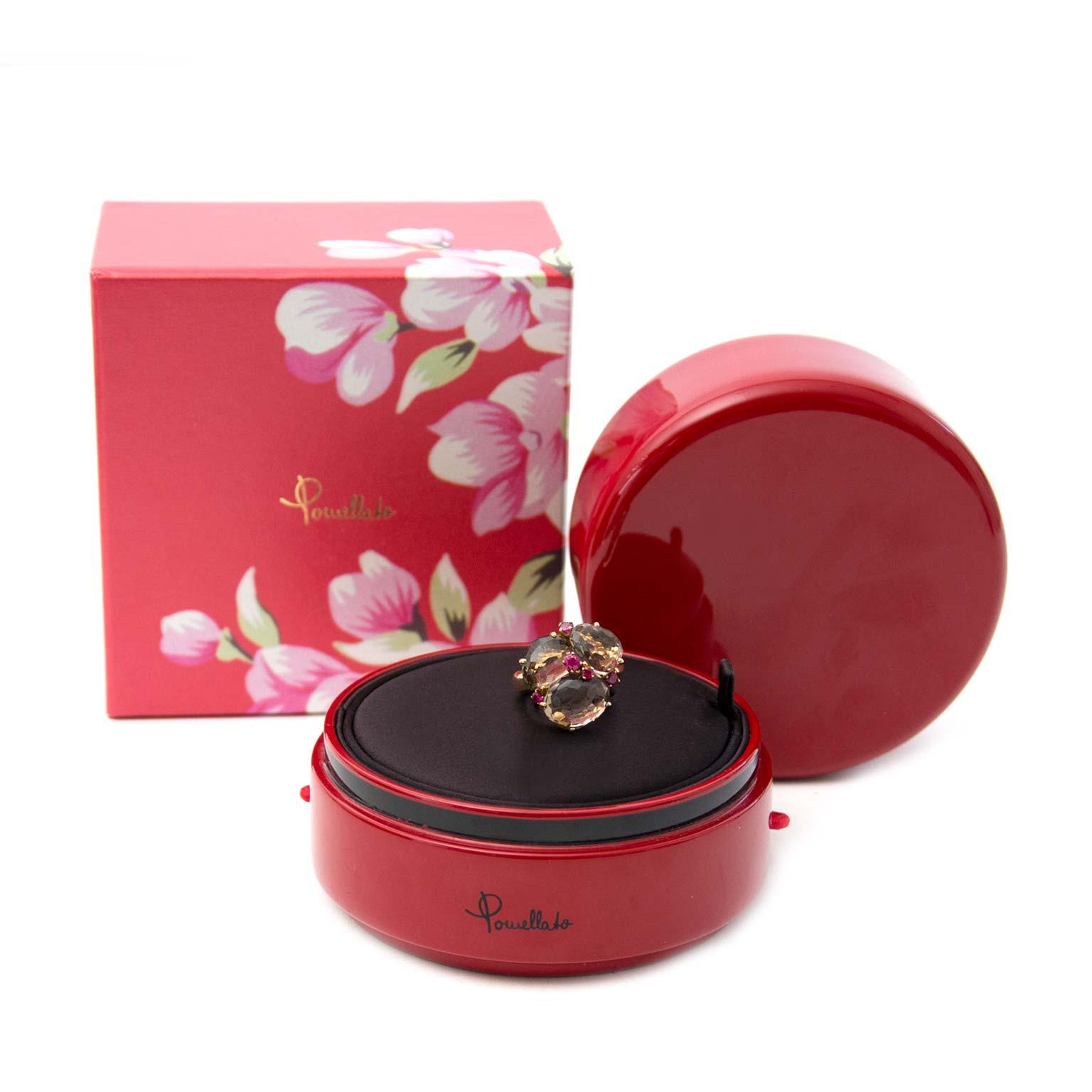 Pomellato Bahia Ring Fumé Quartz and Rubies  shop safe online best price
