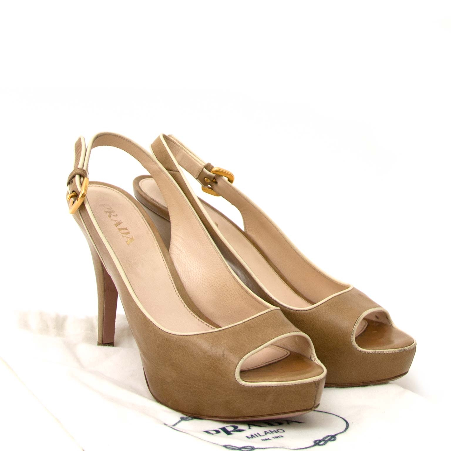 Prada slingback peep toe pumps now for sale at labellov vintage fashion webshop belgium