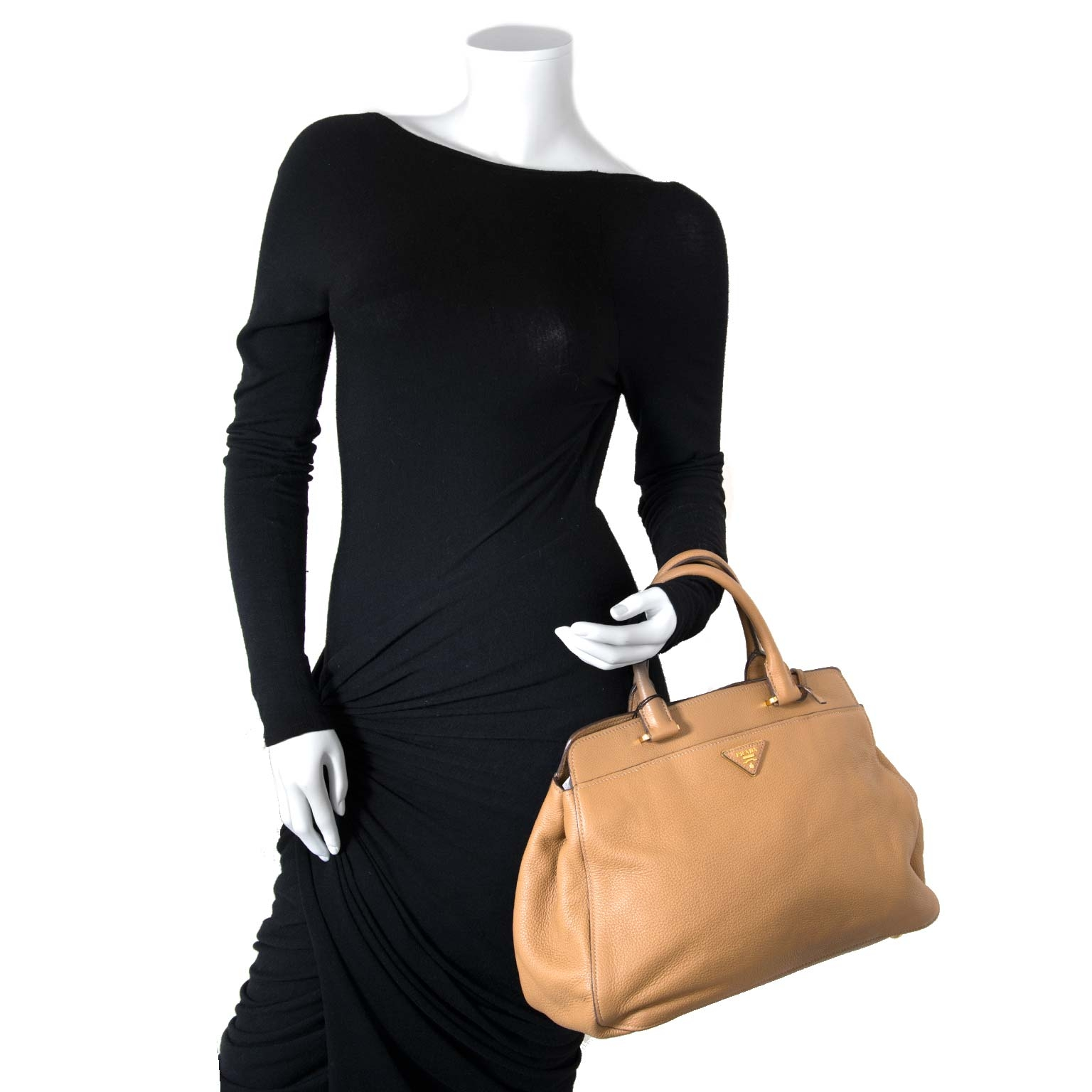 Prada beige leather tote now for sale at labellov vintage fashion webshop belgium