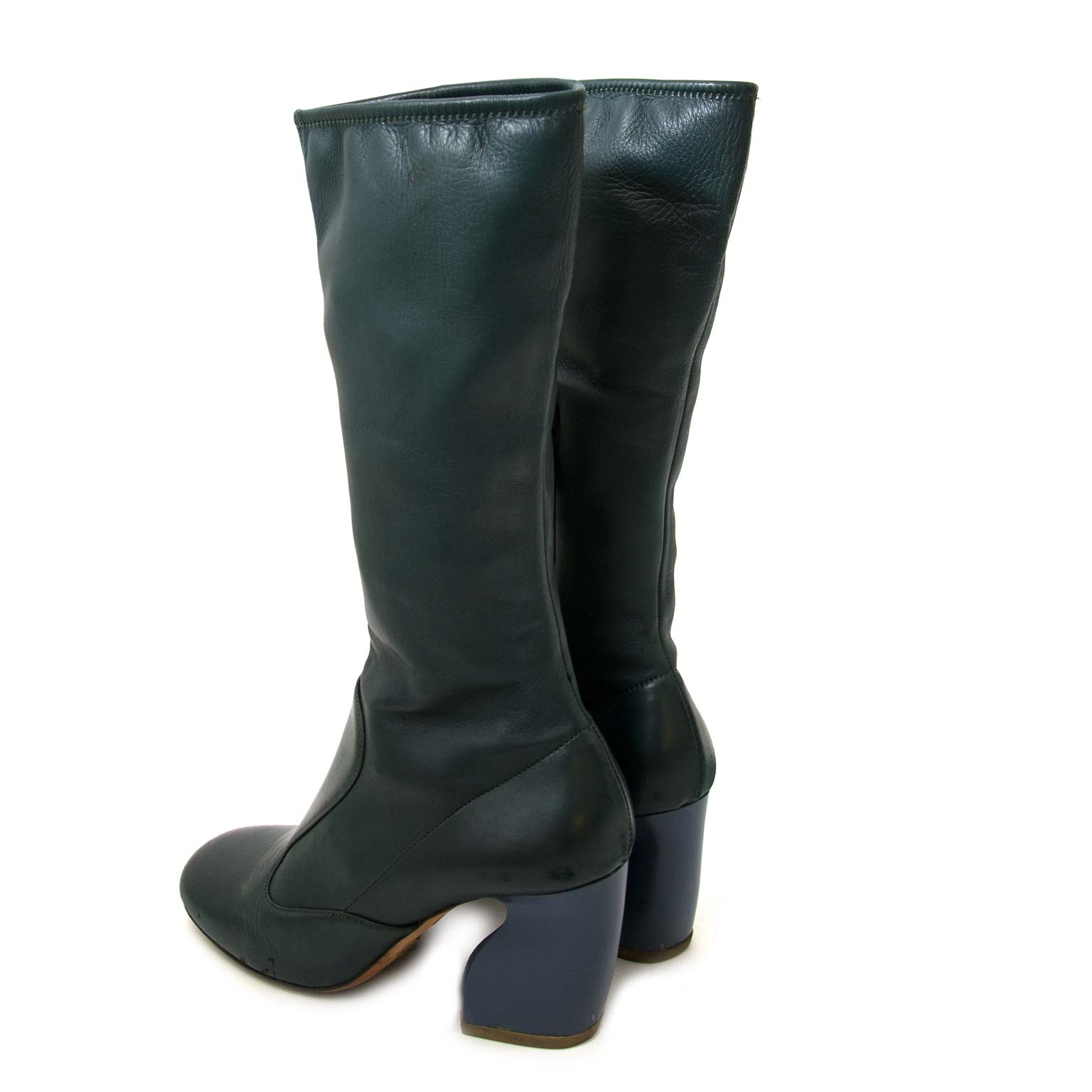 shop safe online secondhand Prada Bicolor Lambskin Mid Calf Boots - size 39