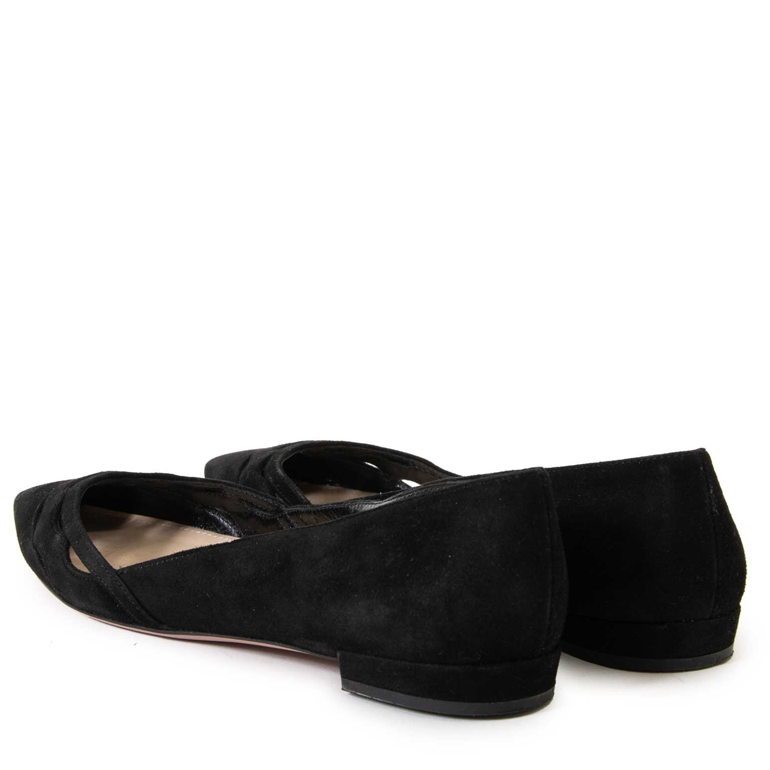 prada suede black point toe flats now for sale at labellov vintage fashion webshop belgium