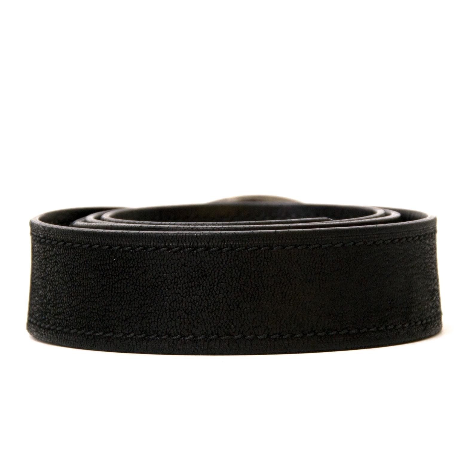shop safe online secondhand Prada Black Leather Belt - Size 90