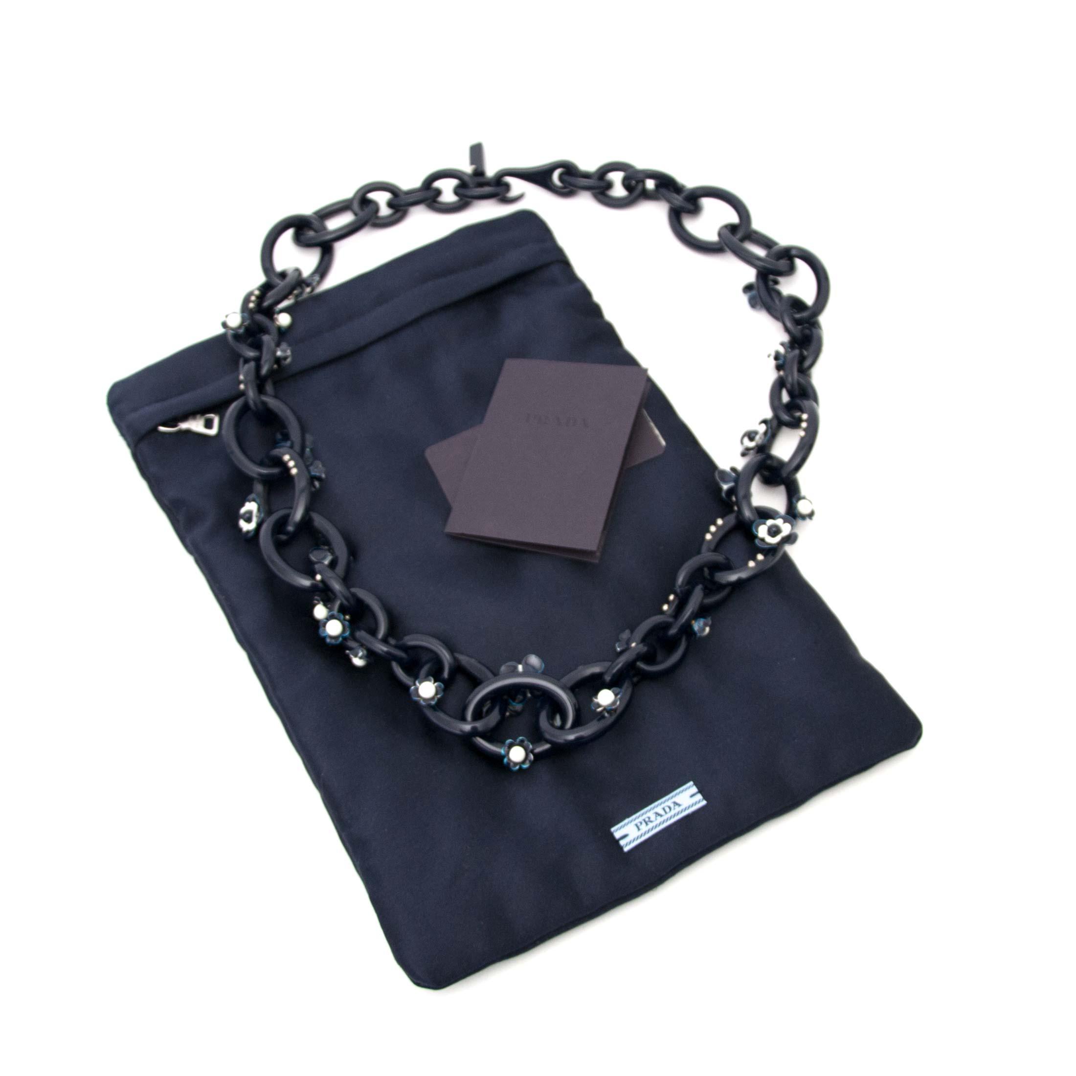 Authentic blue Prada necklace at Labellov