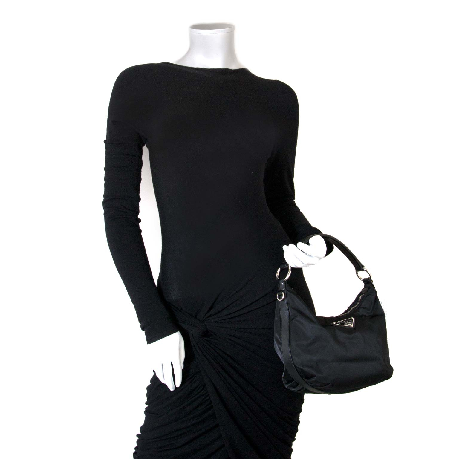 Prada Black Nylon Shoulder Bag now at labellov vintage fashion webshop belgium