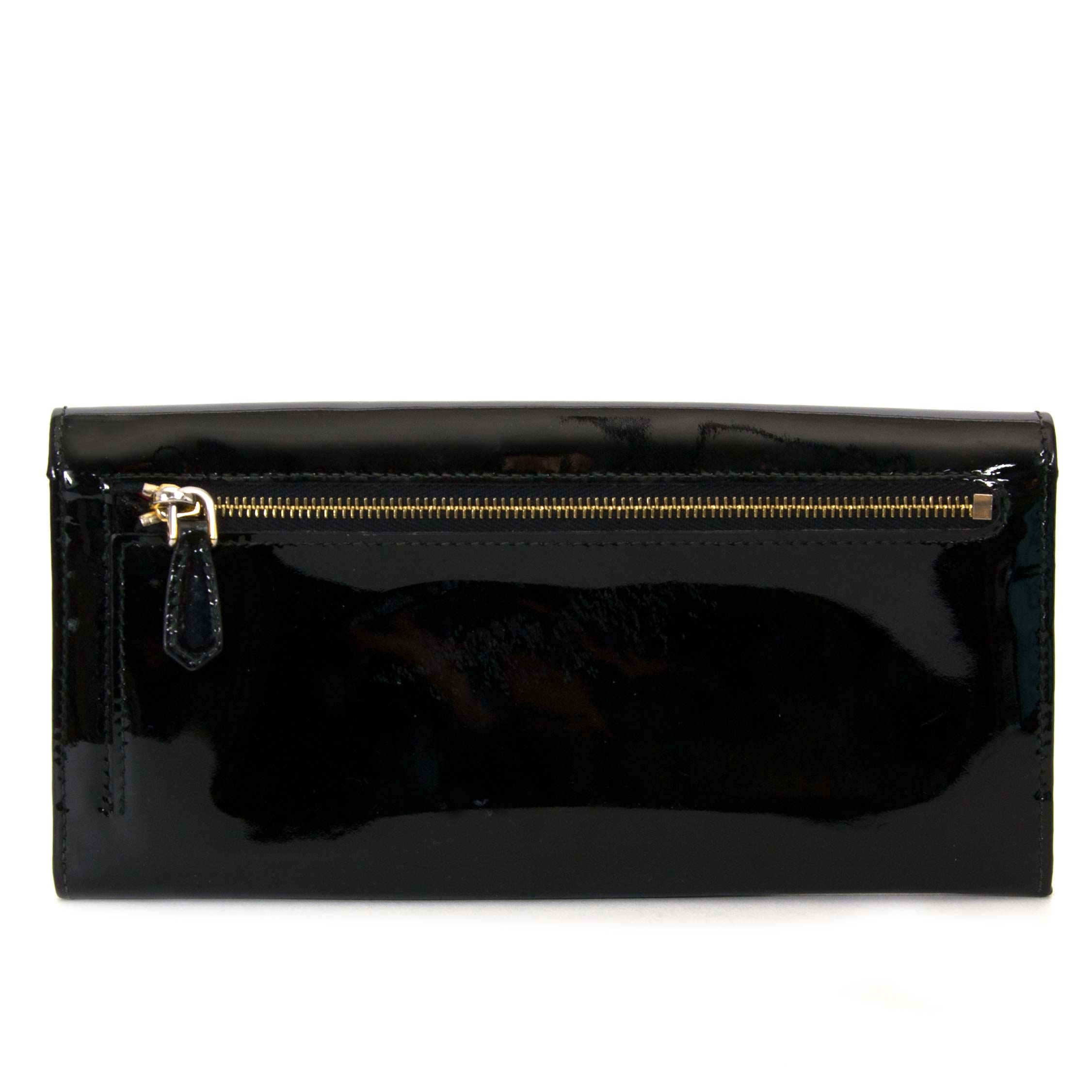 prada black patent leather wallet now for sale at labellov vintage fashion webshop belgium
