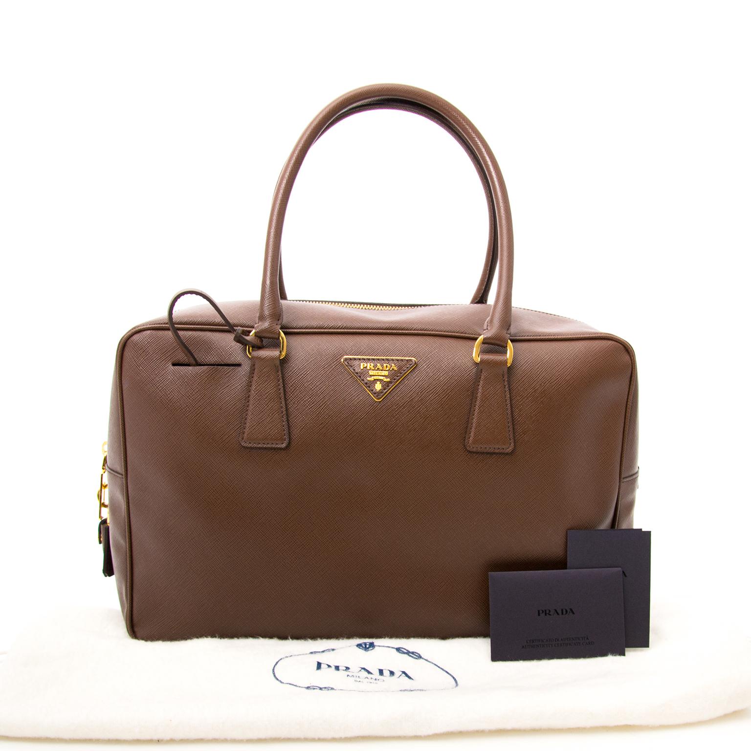 fedd920fc527 ... sale online Buy an authentic Prada Cacao Saffiano Lux Shoulder Bag  online