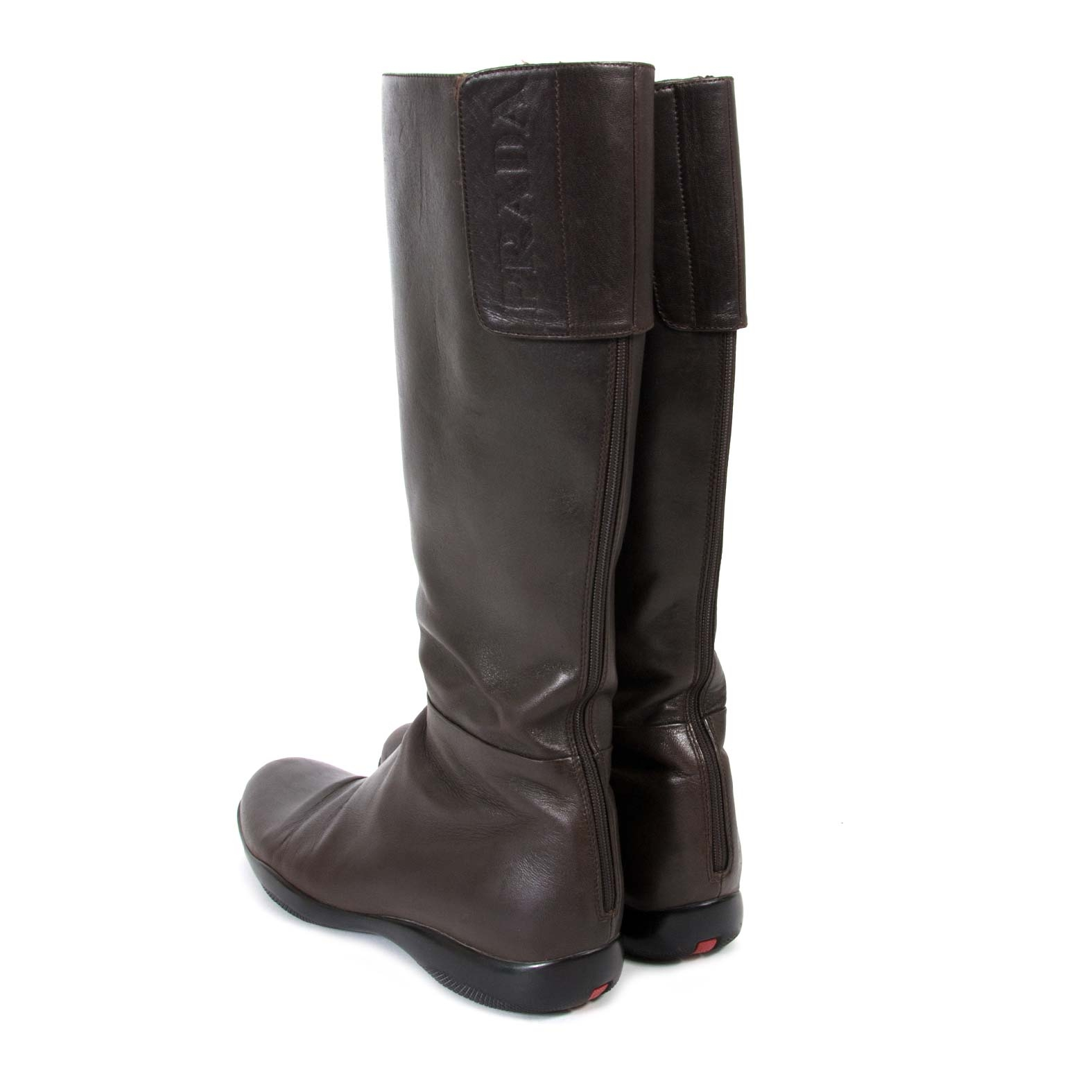buy second hand authentic Prada Dark Brown Leather Boots - Size 39.5 at labellov vintage online store antwerp for the best price