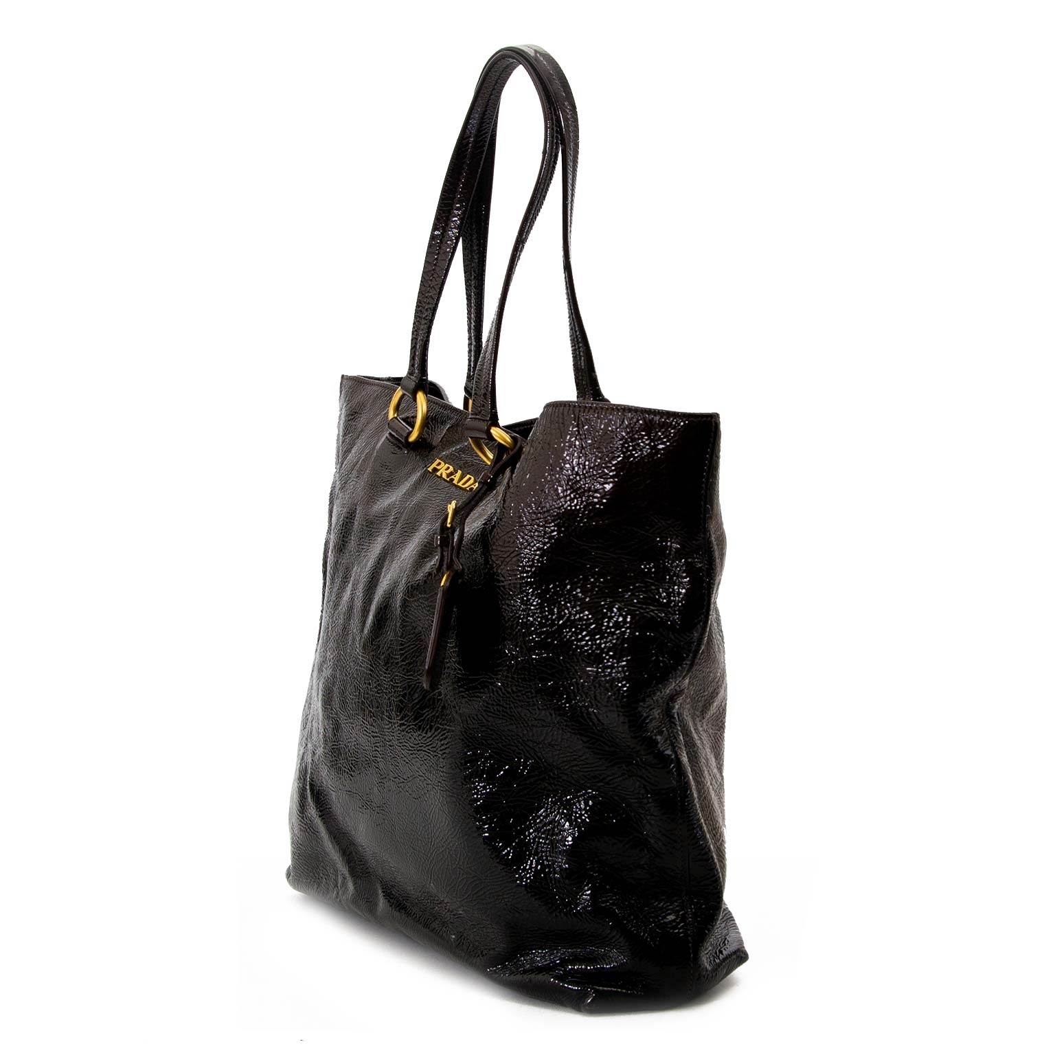Prada Dark Brown Patent Leather Tote Bag now for sale at labellov antwerp for the best price