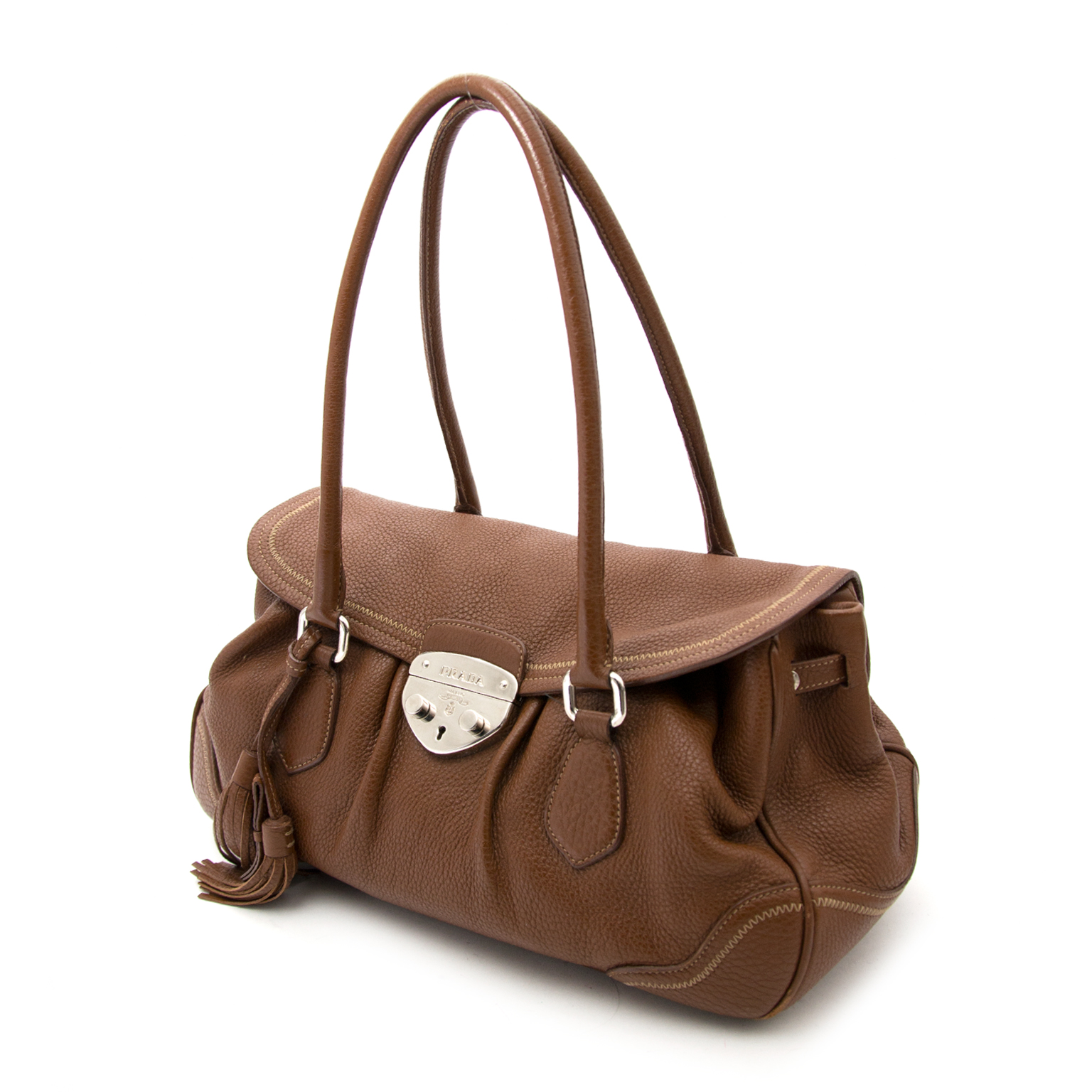 aaa51fa2c39e Buy and sell yours easily at Labellov timeless luxury Prada Tabacco Brown  Handbag te koop online bij Labellov