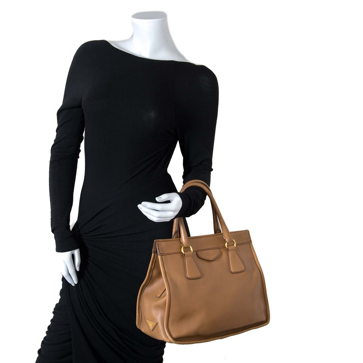 prada cognac leather tote now for sale at labellov
