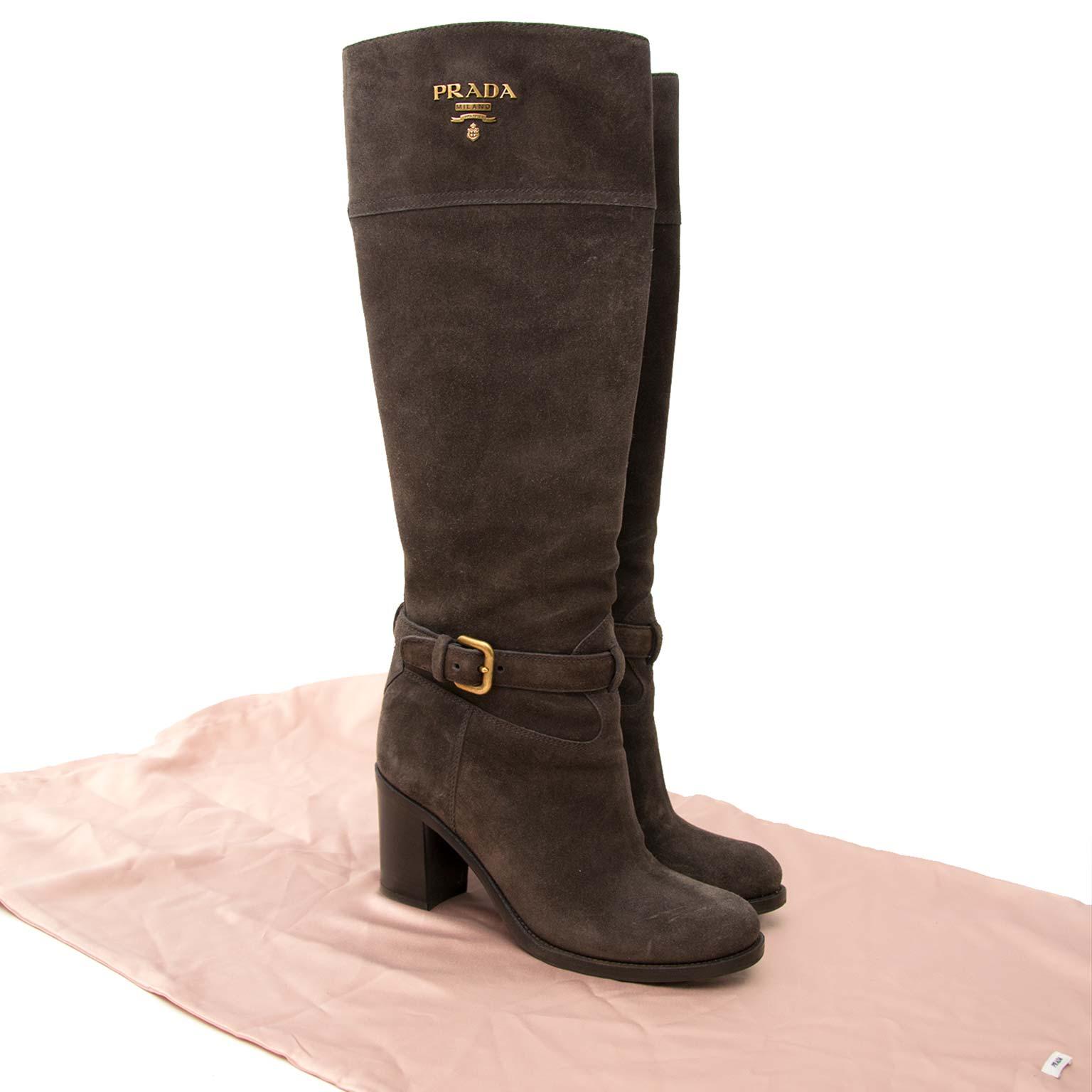 Prada Grey Suede Buckle Detail Boots