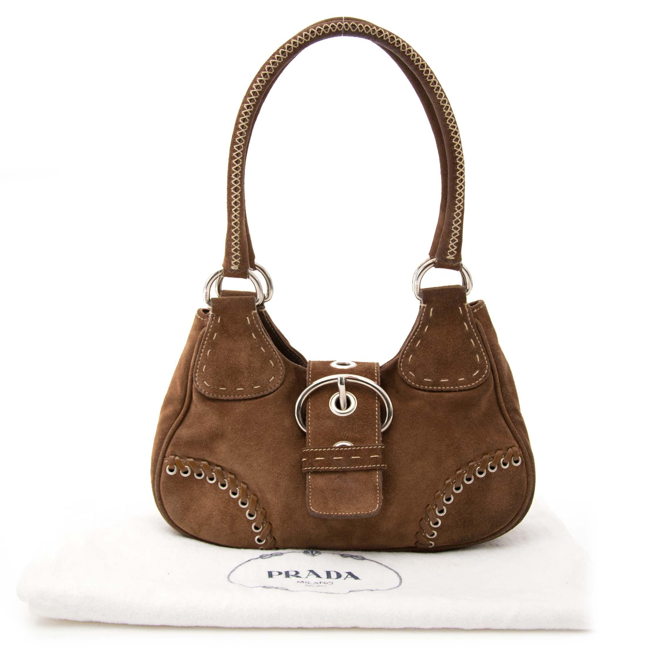 achter en ligne chez labellov.com prada brun daim sac a epole