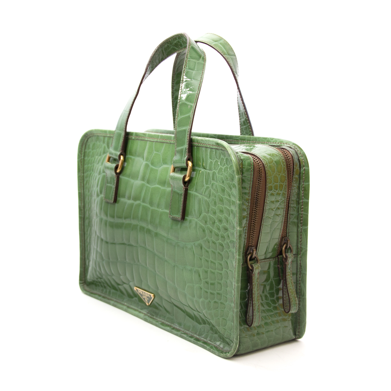 b3e35d97b74e ... Bag now online at Prada Groene Lederen St. Coco Bauletto Handtas met  Crocoreliëf nu online op labellov.com