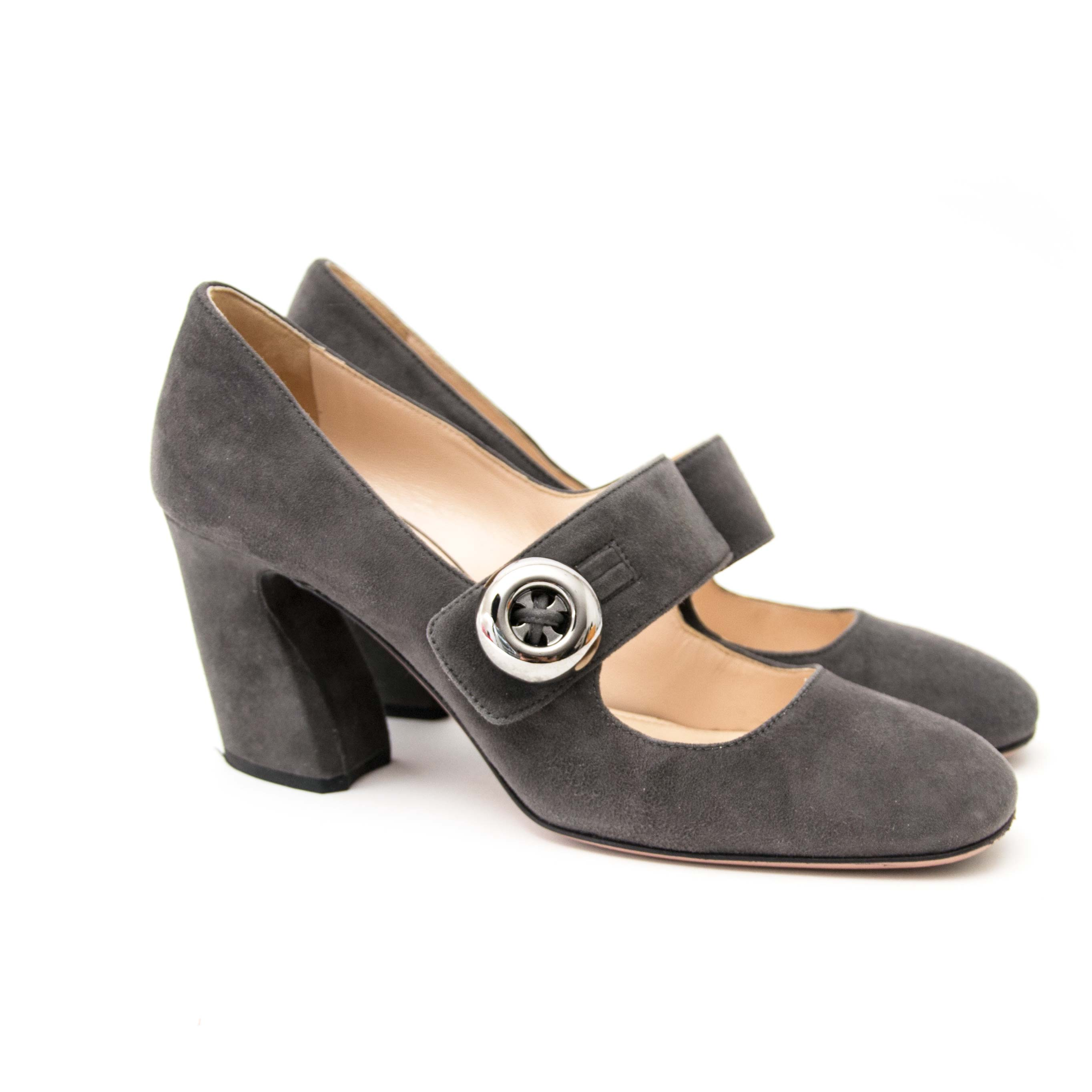 prada grey suede heels now online at labellov.com for the best price