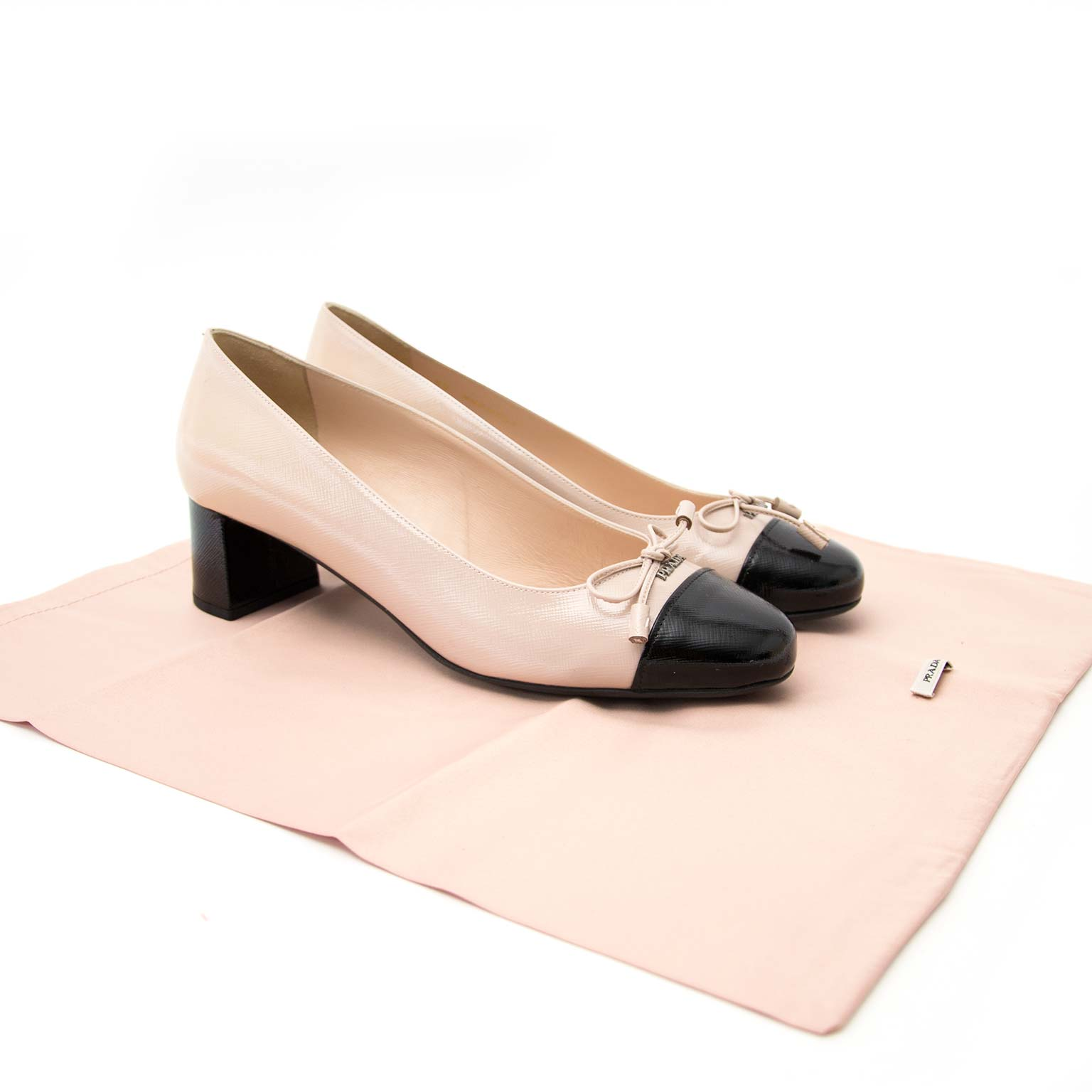 prada black and nude patent heels now online at labellov.com for the best price