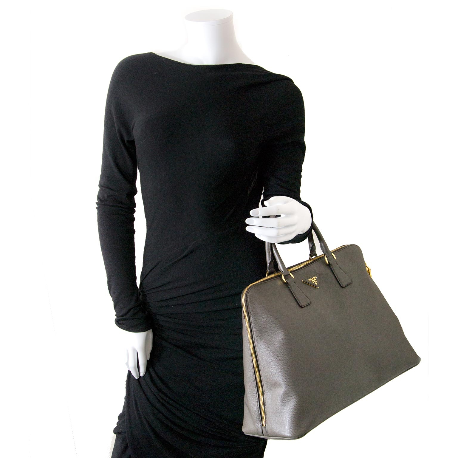 prada grey saffiano lux bauletto bag now for sale at labellov vintage fashion webshop belgium
