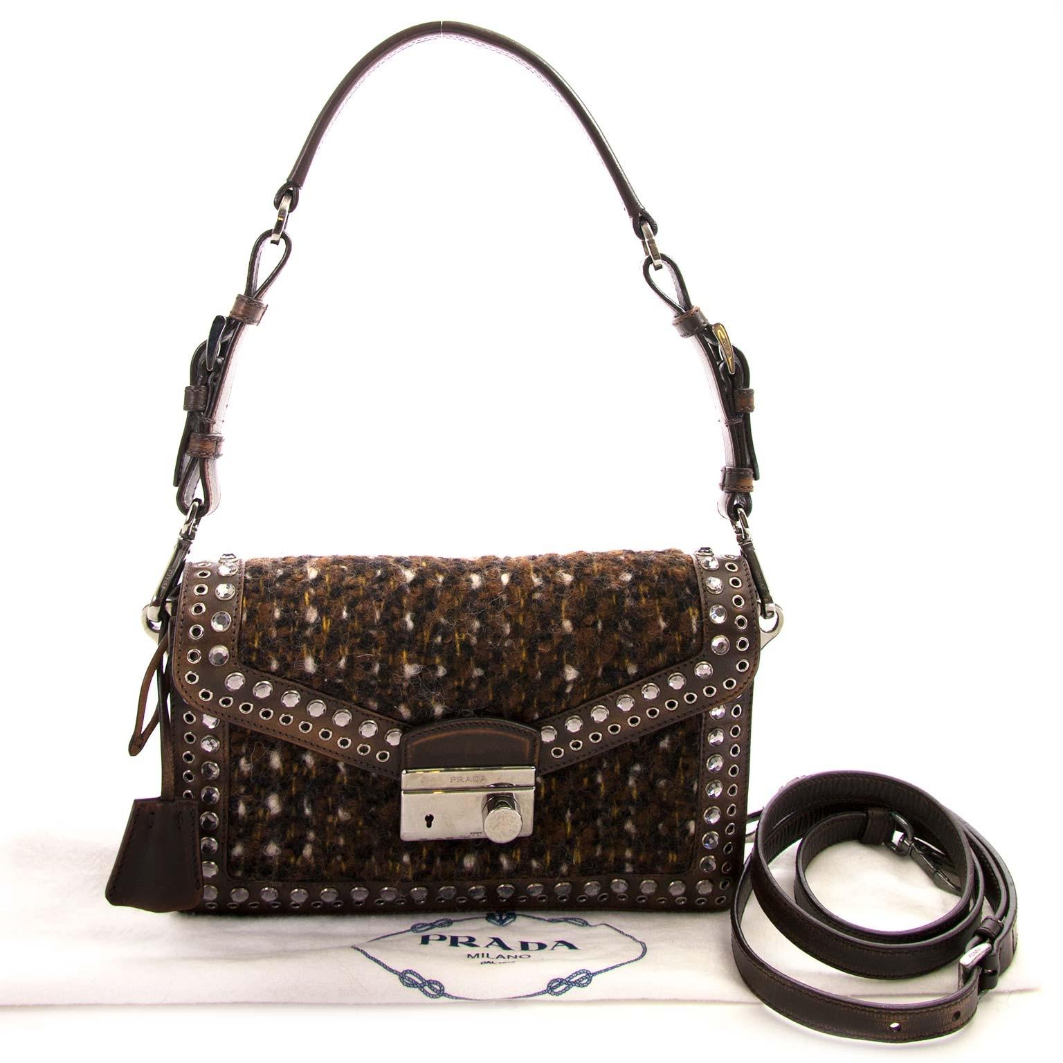 prada brown tweed shoulder bag now for sale at labellov vintage fashion webshop belgium