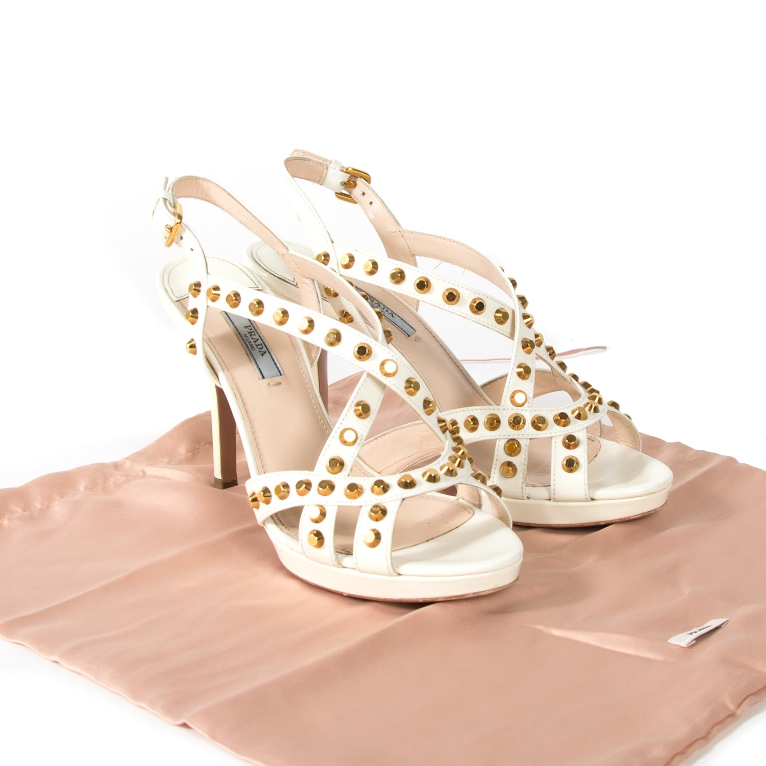 buy prada white studded saffiano platform sandals now online at labellov vintage fashion webshop belgium