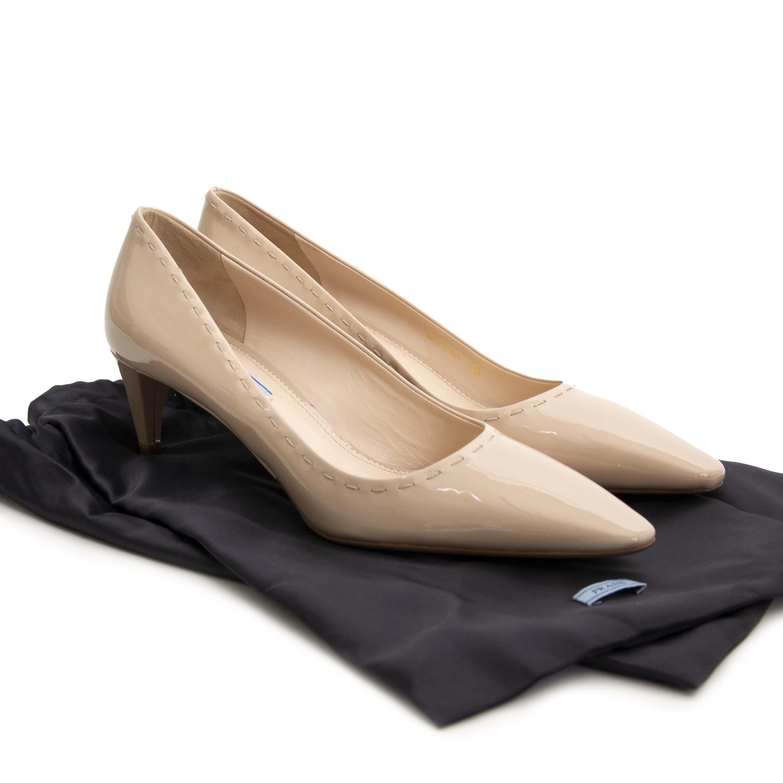Prada Nude Patent Leather Kitten Heels - Size 40