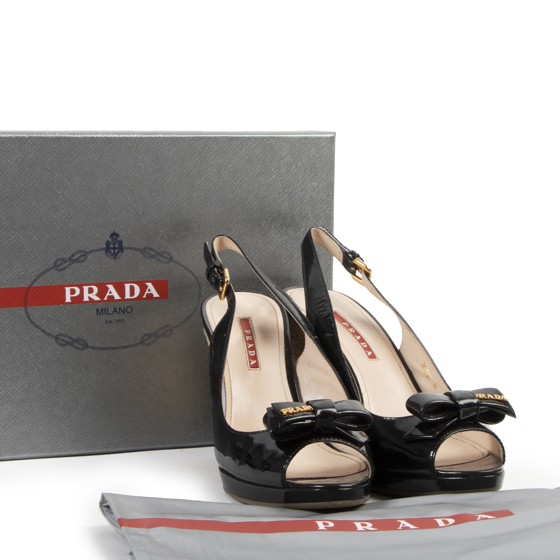 Authentic secondhand Prada Black Patent Leather Bow Espadrille Wedge Sandals - Size 39  designer shoes pumps fashion luxury vintage webshop safe secure online shopping