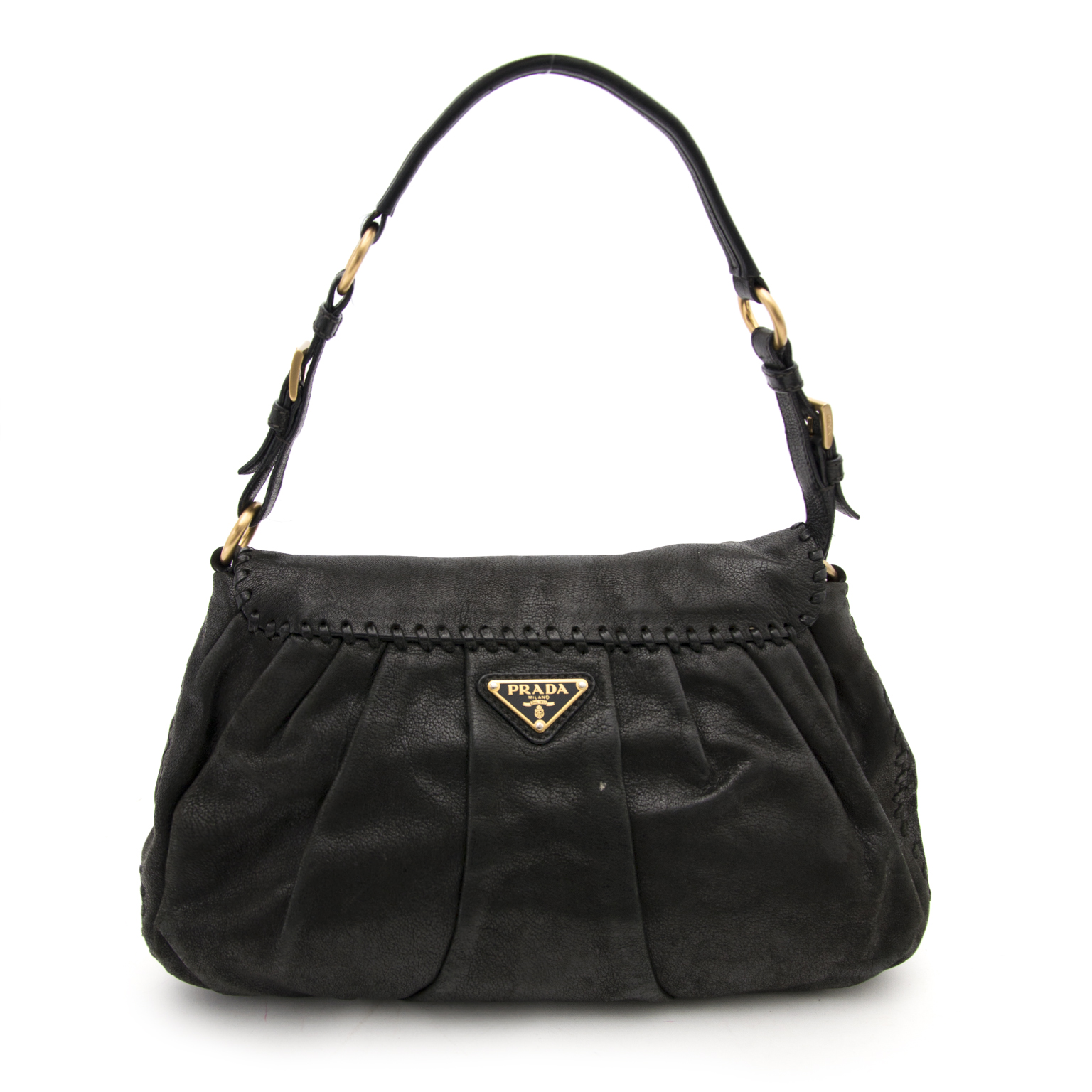 Prada black leather satchel bag aankoop aan de beste prijs