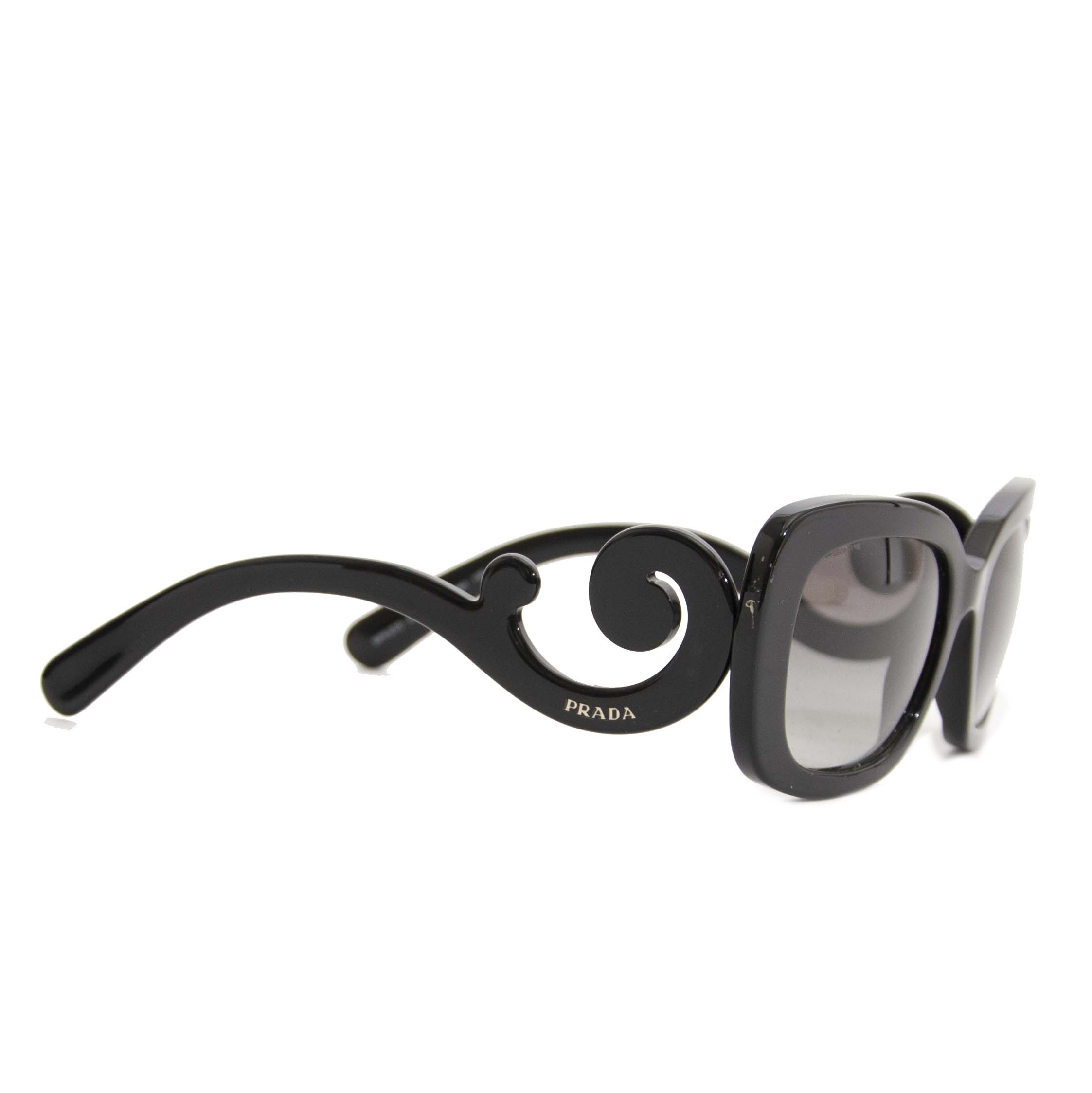 Authentic second hand Prada Minimal Baroque Sunglasses Black buy online webshop LabelLOV