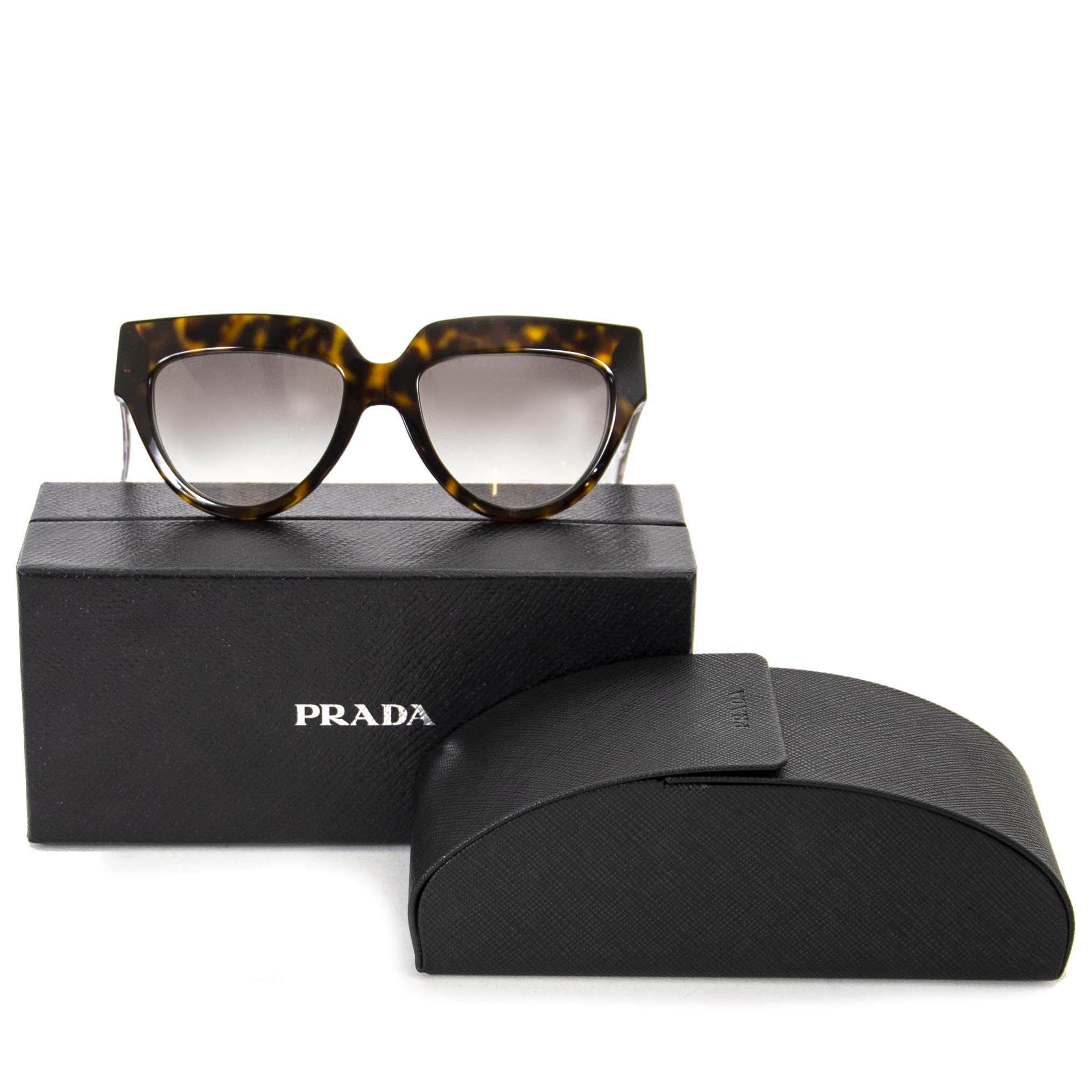 Prada Poeme Black And Tortoise Flower Sunglasses now for sale at labellov vintage fashion webshop belgium