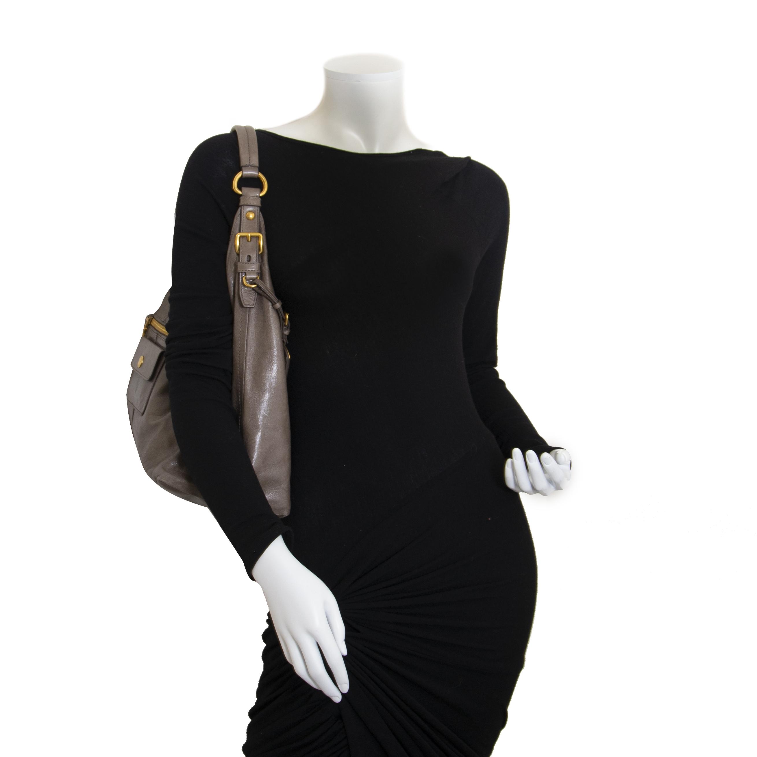Prada Taupe Shoulder Bag now for sale at labellov vintage fashion webshop belgium