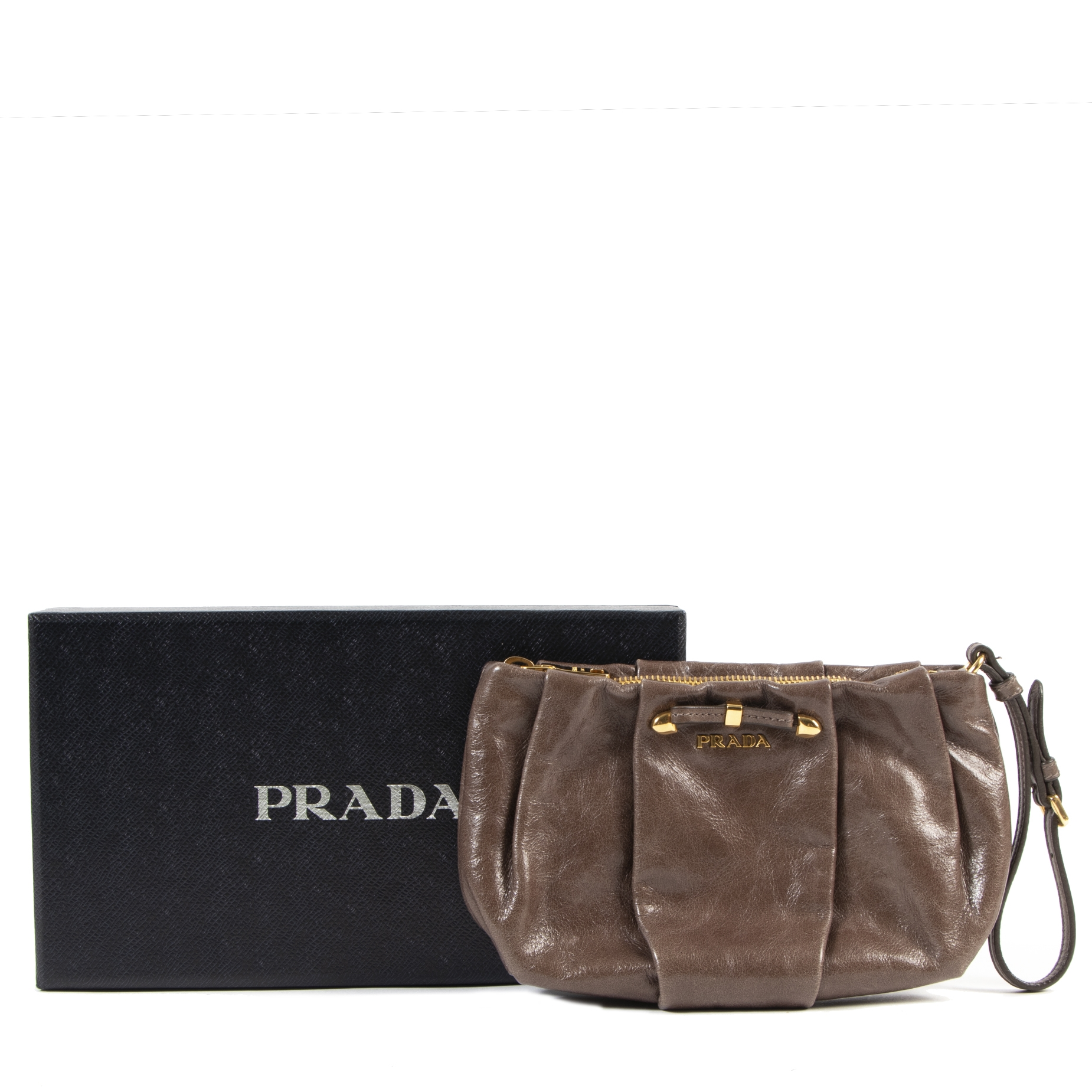 Prada Taupe Brown Patent Clutch Bag for the best price at Labellov