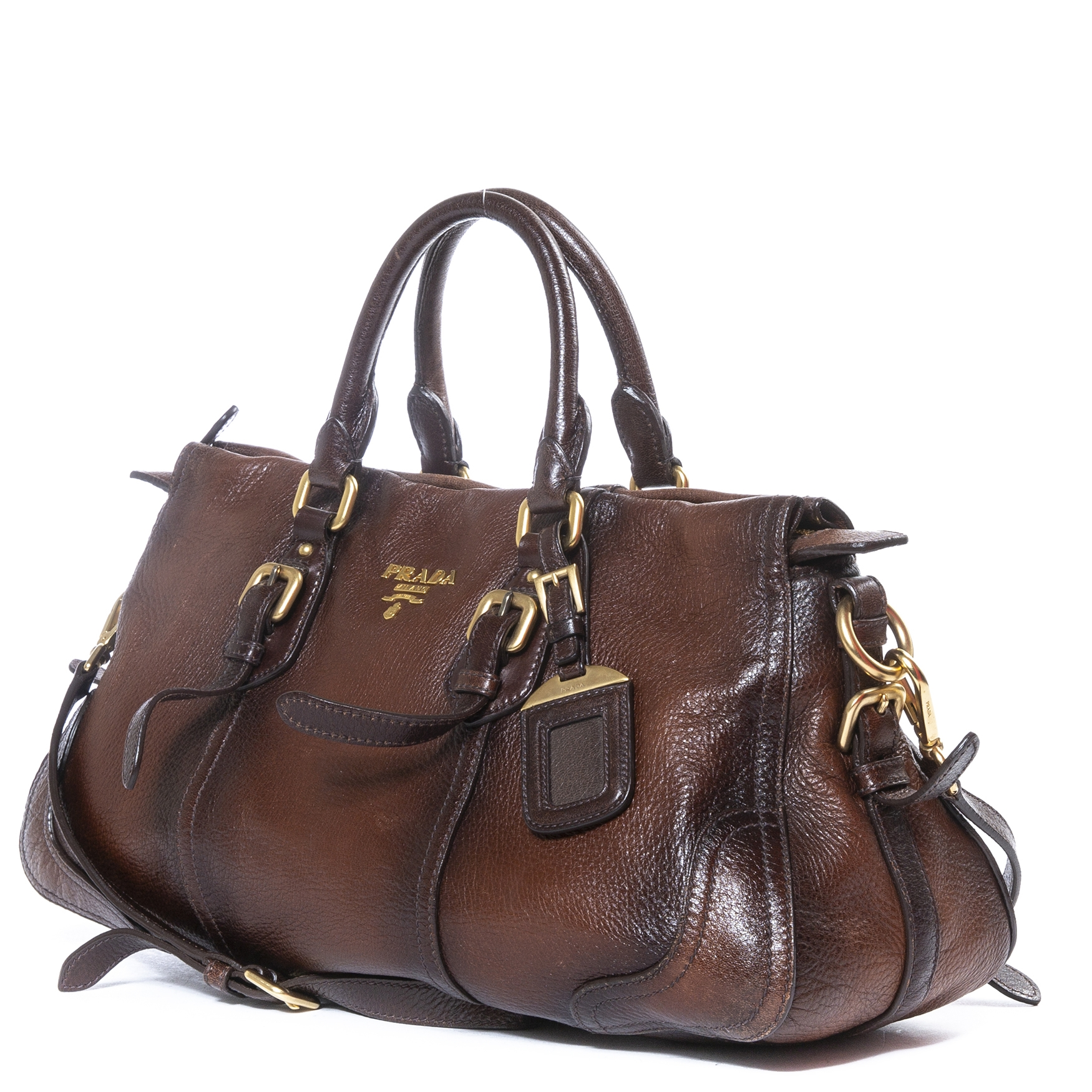 Prada Brown Leather Bowler Bag