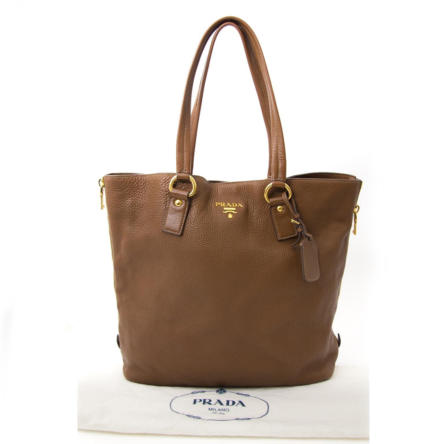 shop real 100% authentic luxury tote aan de beste prijs Prada Chocolat Brown Tote Bag