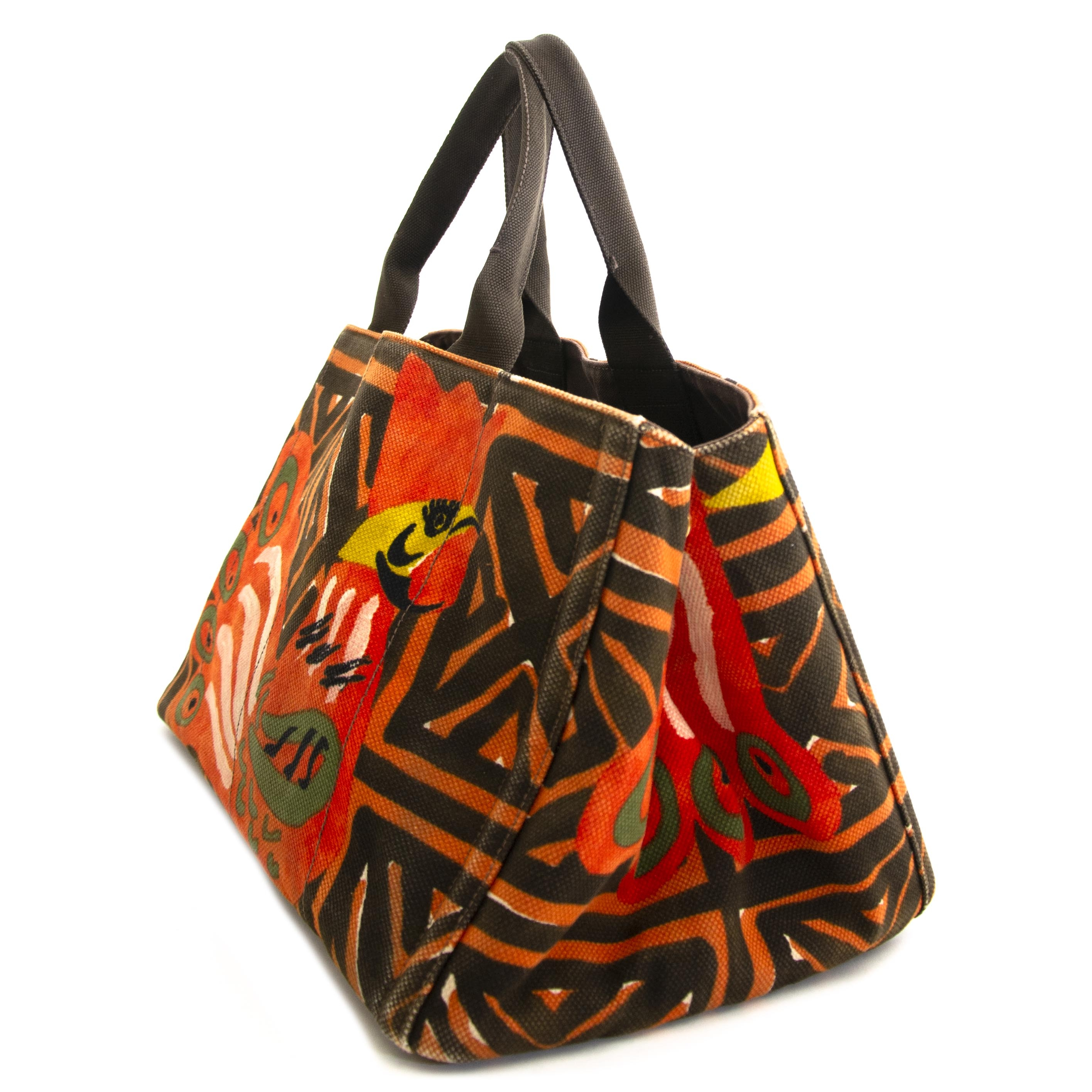d5bde56bb6db ... Prada Multicolor Peacock Fabric Tote now for sale at labellov vintage  fashion webshop belgium