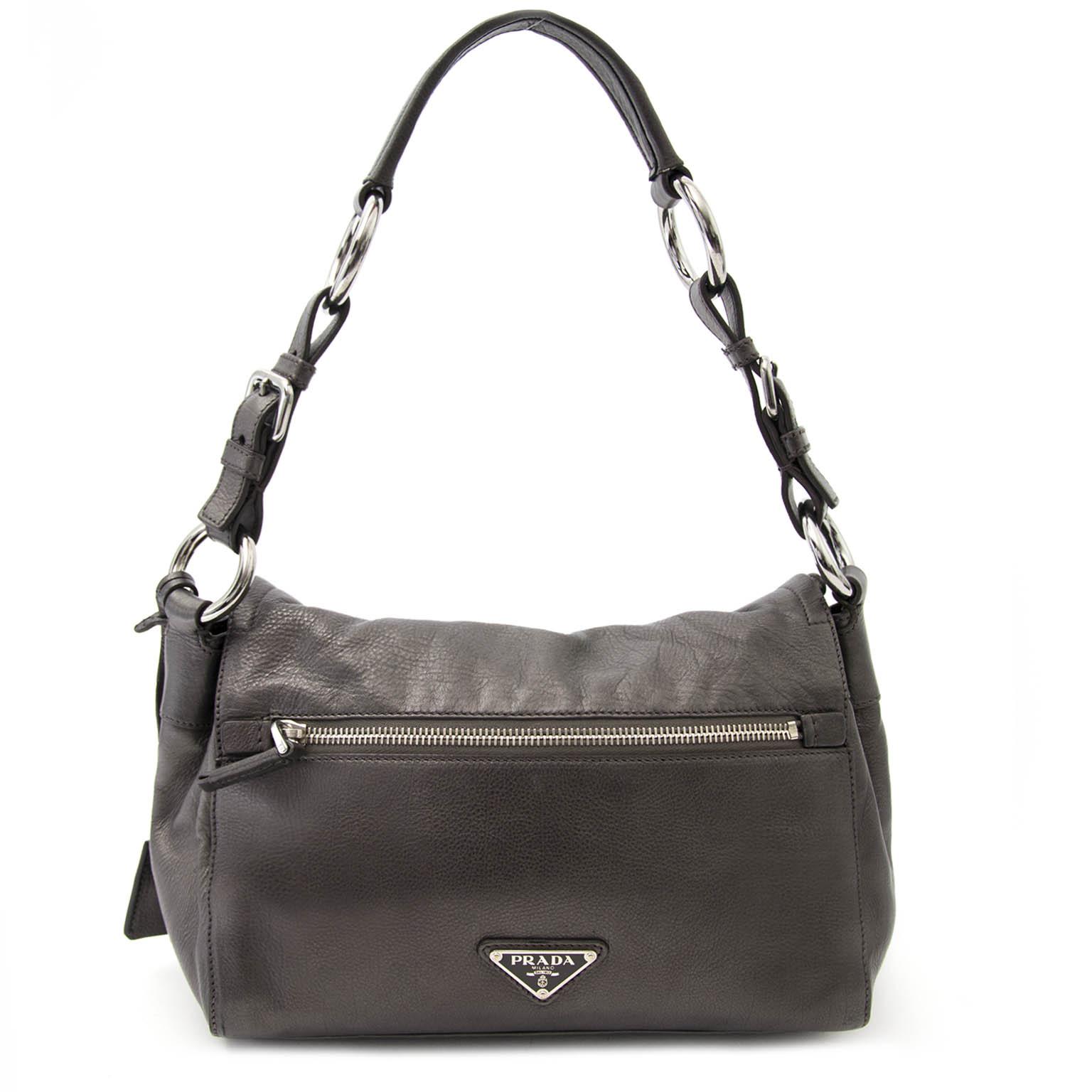 Bent u op zoek naar een authentieke Prada Metallic Grey Pattina Bag?