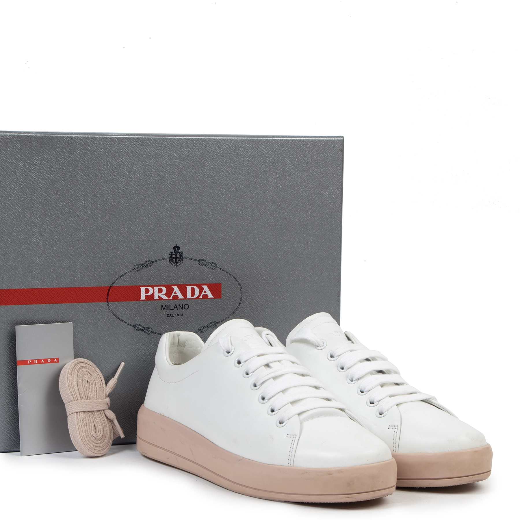 Authentic secondhand  Prada Linea Rossa White Sneakers - Size 38,5 designer shoes fashion luxury vintage webshop safe secure online shopping