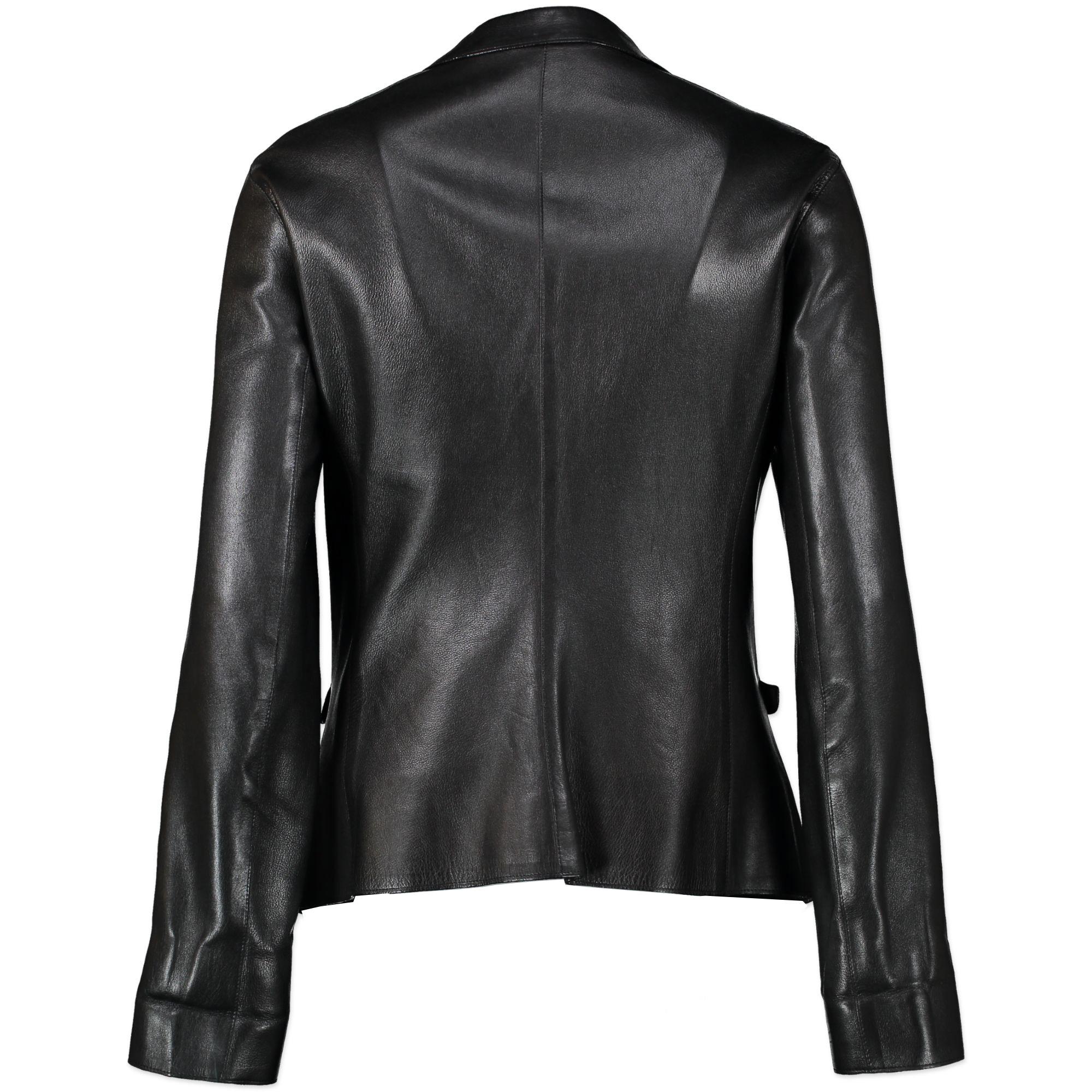Prada Black Leather Jacket - Size 44