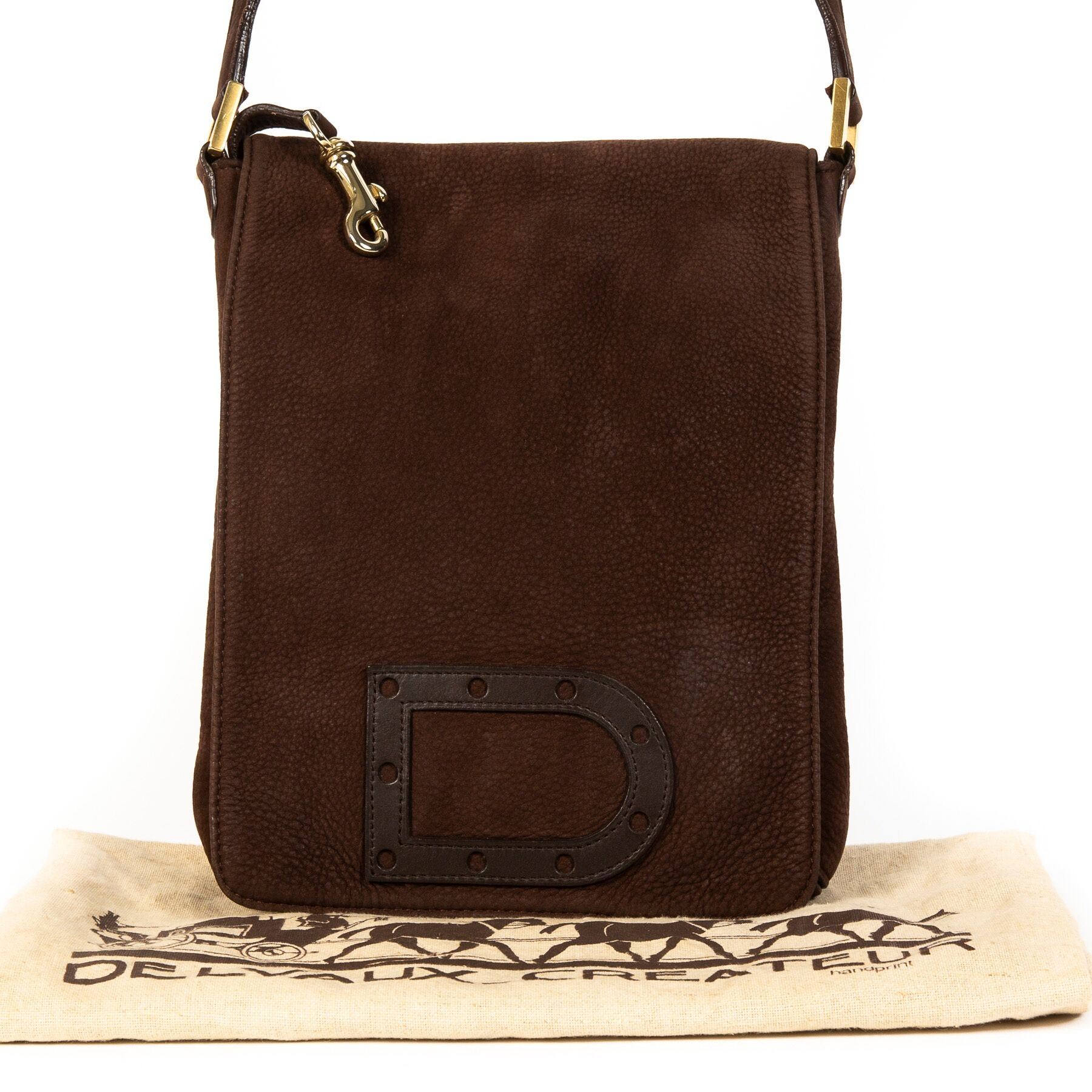 uy authentic secondhand Delvaux Nubuck Baudrier Louise bag at LabelLOV webshop, safe payment.