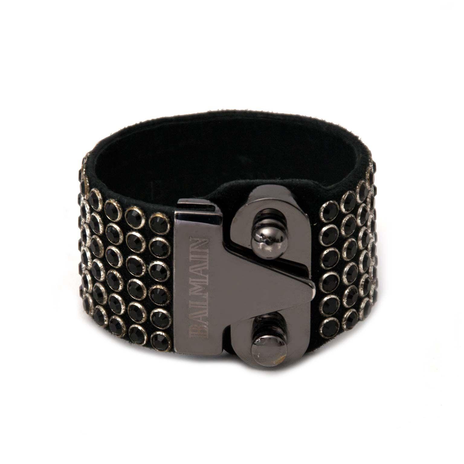 secondhand black leather bracelet for sale at labellov