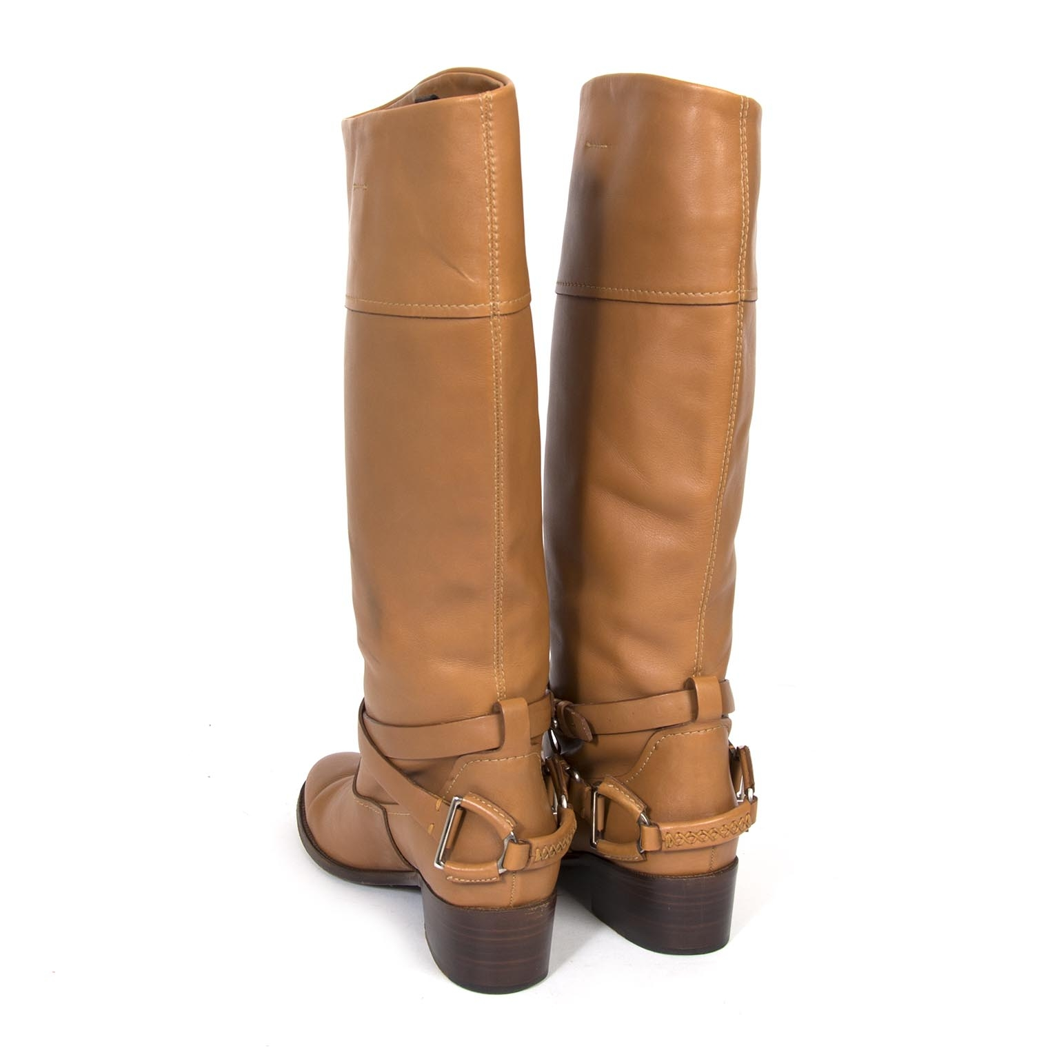 buy authentic ralph lauren brown leather boots now at Labellov vintage fashion webshop belgium