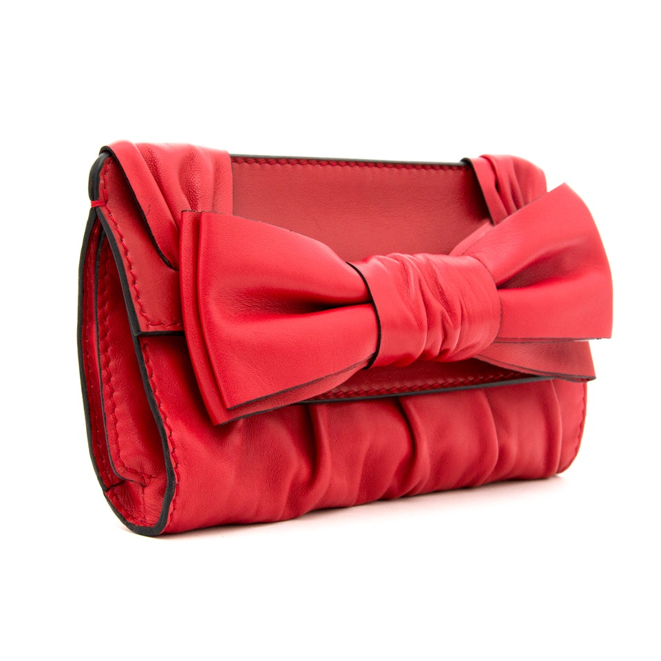 Brand new 2016 Valentino Leather Bow Clutch discounted online