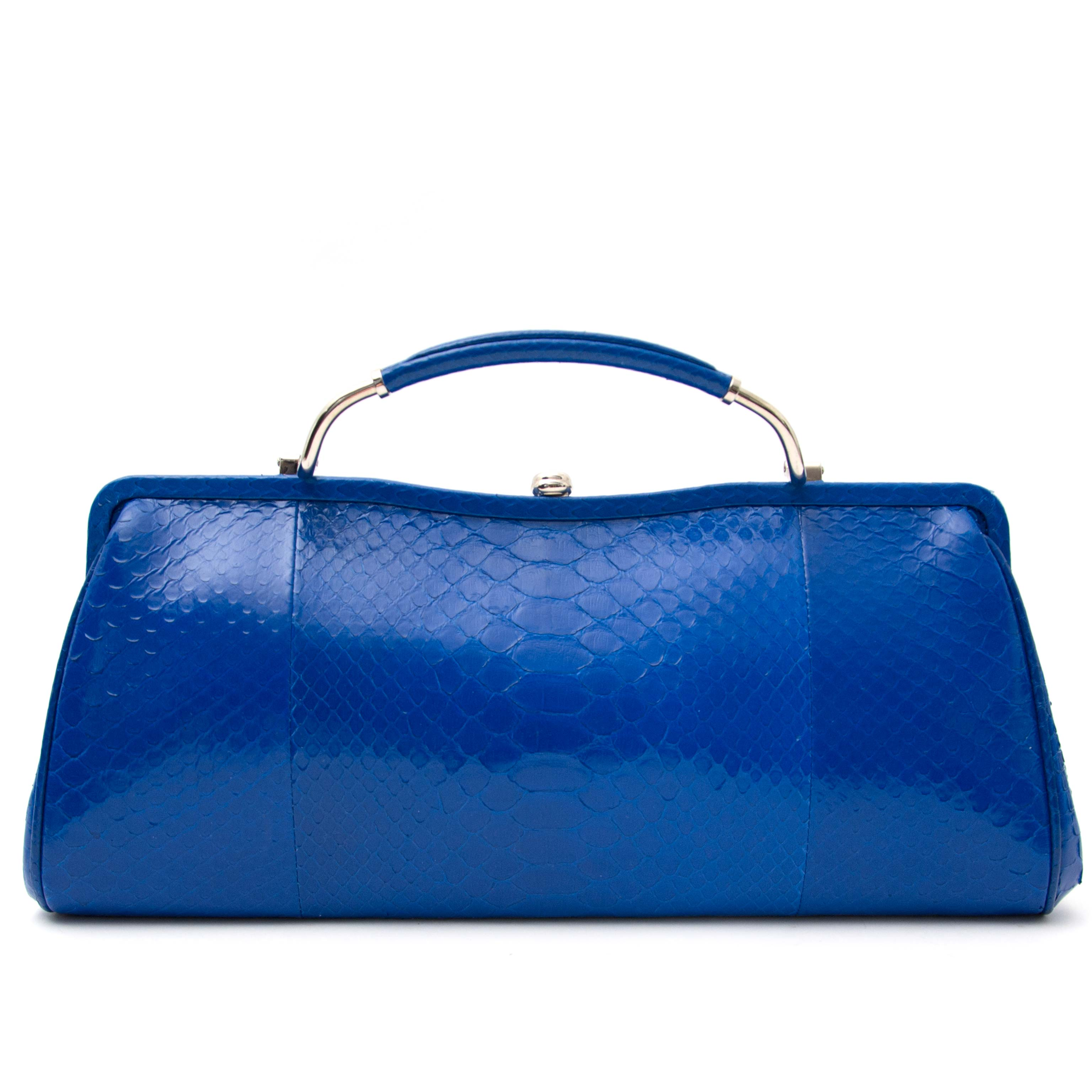 looking for a as new Ralph Lauren Electric Blue Python Clutch  best price