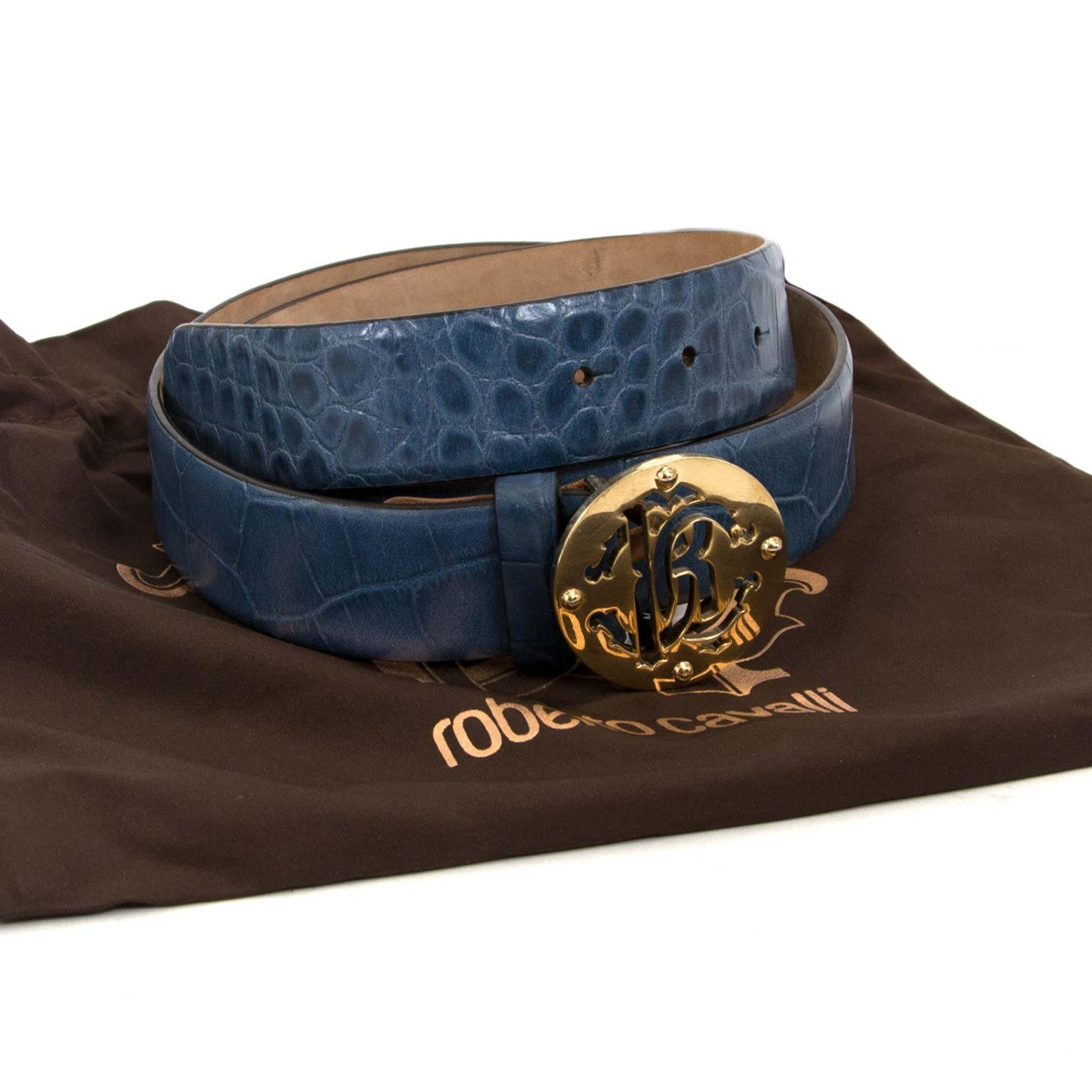 roberto cavalli blue embossed croco rc belt now for sale at labellov vintage fashion webshop belgium