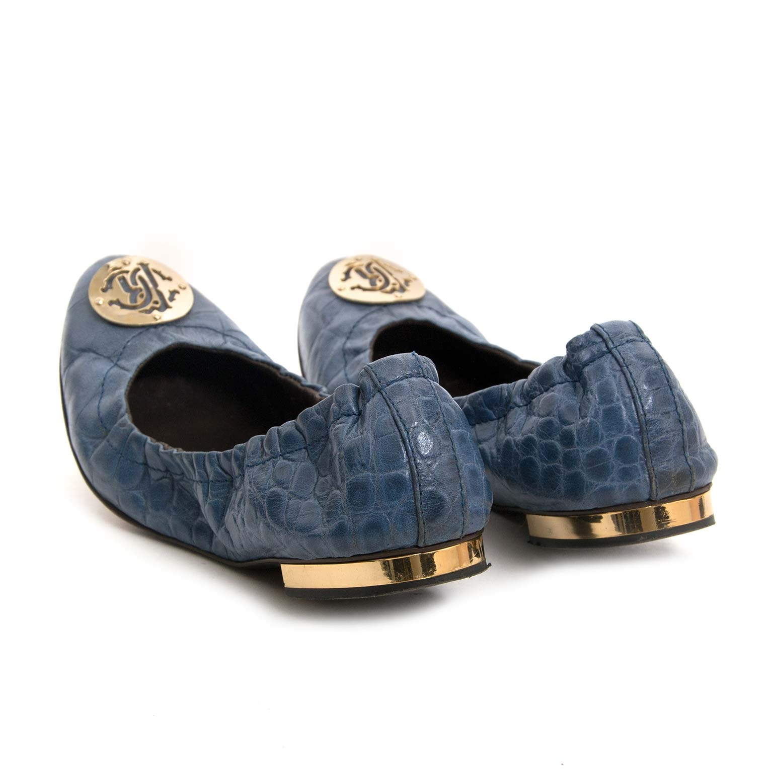 roberto cavalli blue leather ballet flats now for sale at labellov vintage fashion webshop belgium