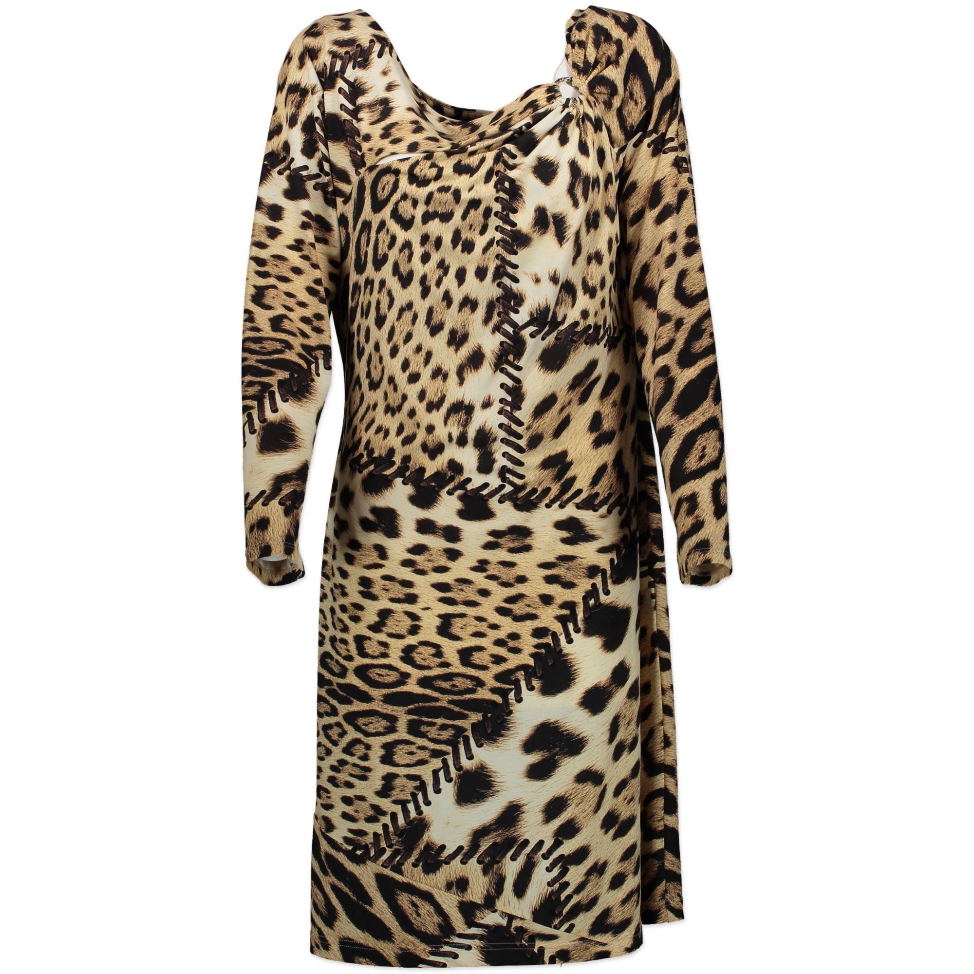 Roberto Cavalli Leopard Print Bodycon Dress