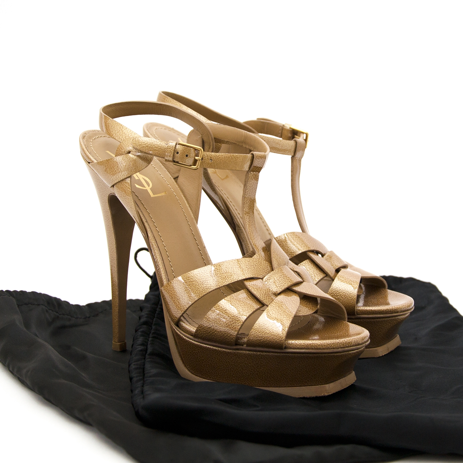 yves saint laurent patent leather tribute sandals now for sale at labellov vintage fashion webshop belgium