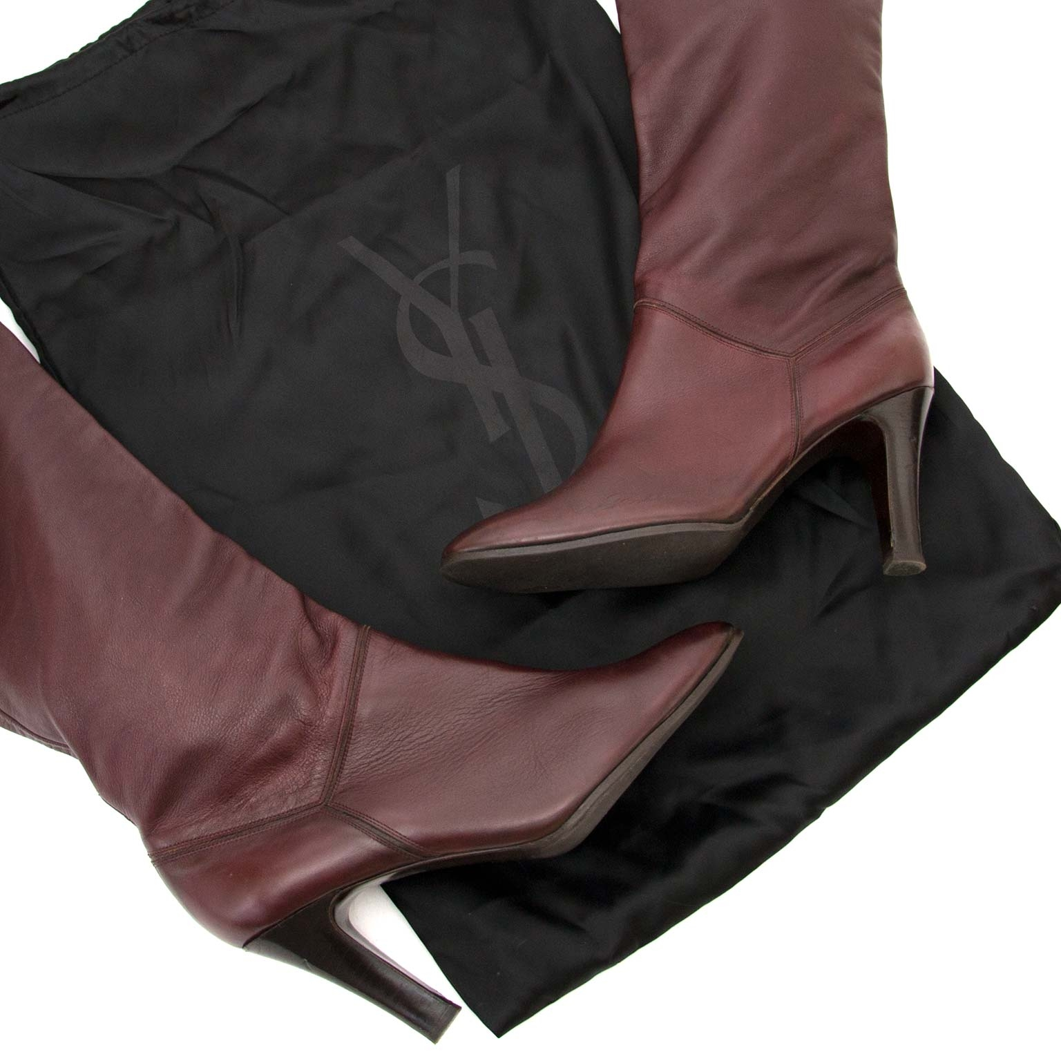 yves saint laurent bordeaux knee boots now for sale at labellov vintage fashion webshop belgium