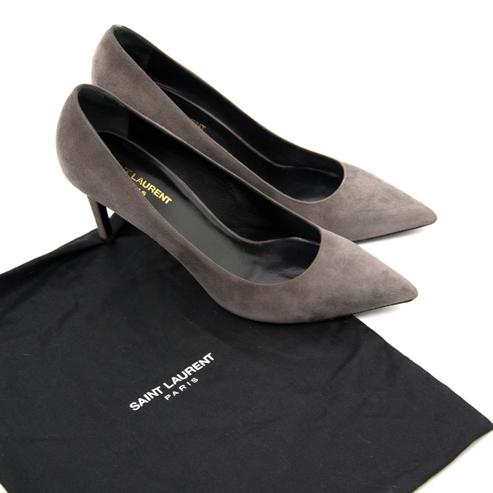 shop safe online Saint Laurent Grey Suede Heels